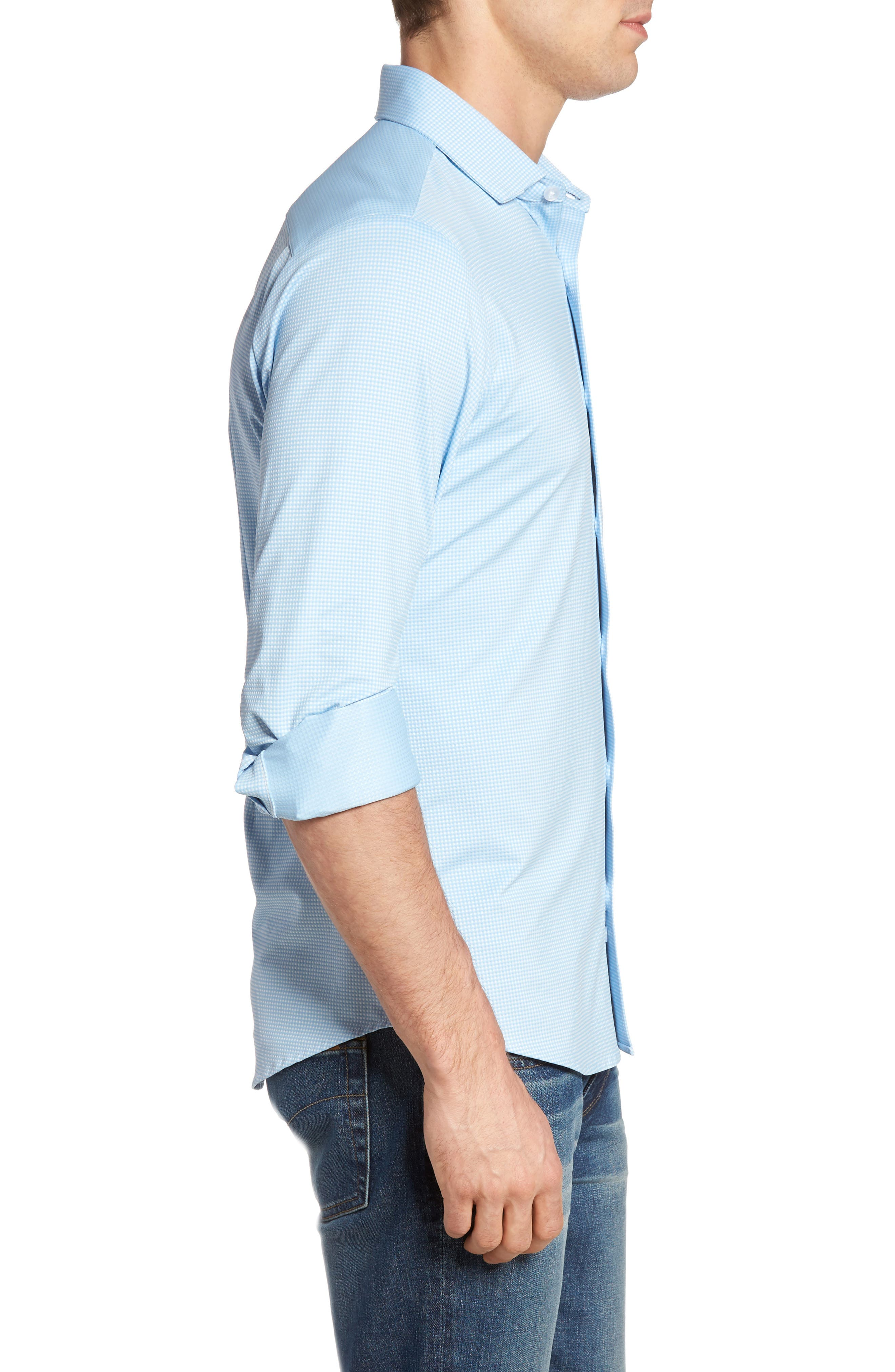 MIZZEN+MAIN, Whitman Trim Fit Dobby Gingham Performance Sport Shirt, Alternate thumbnail 3, color, BLUE