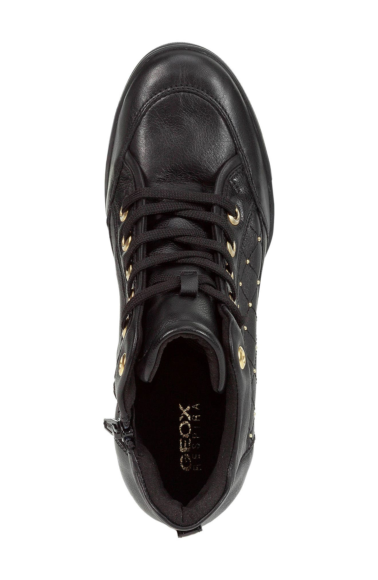 GEOX, Carum Wedge Sneaker, Alternate thumbnail 4, color, 001