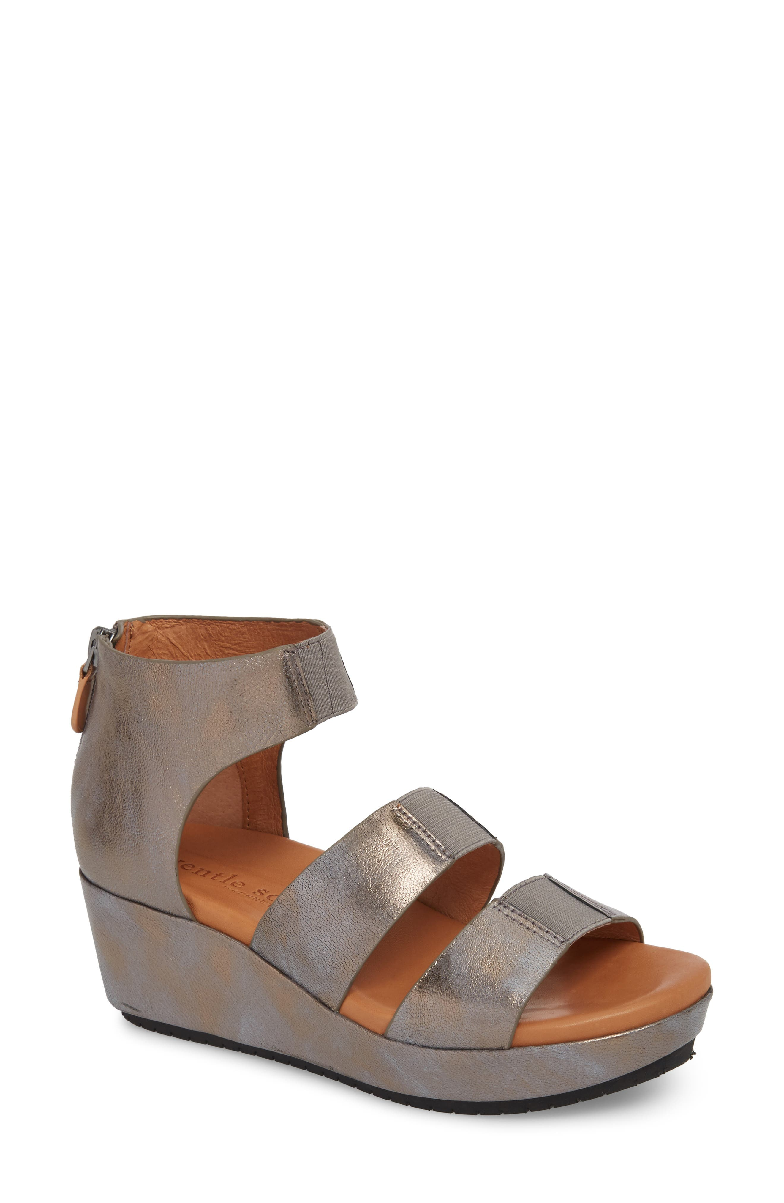 GENTLE SOULS BY KENNETH COLE, Milena Wedge Sandal, Main thumbnail 1, color, PEWTER METALLIC LEATHER