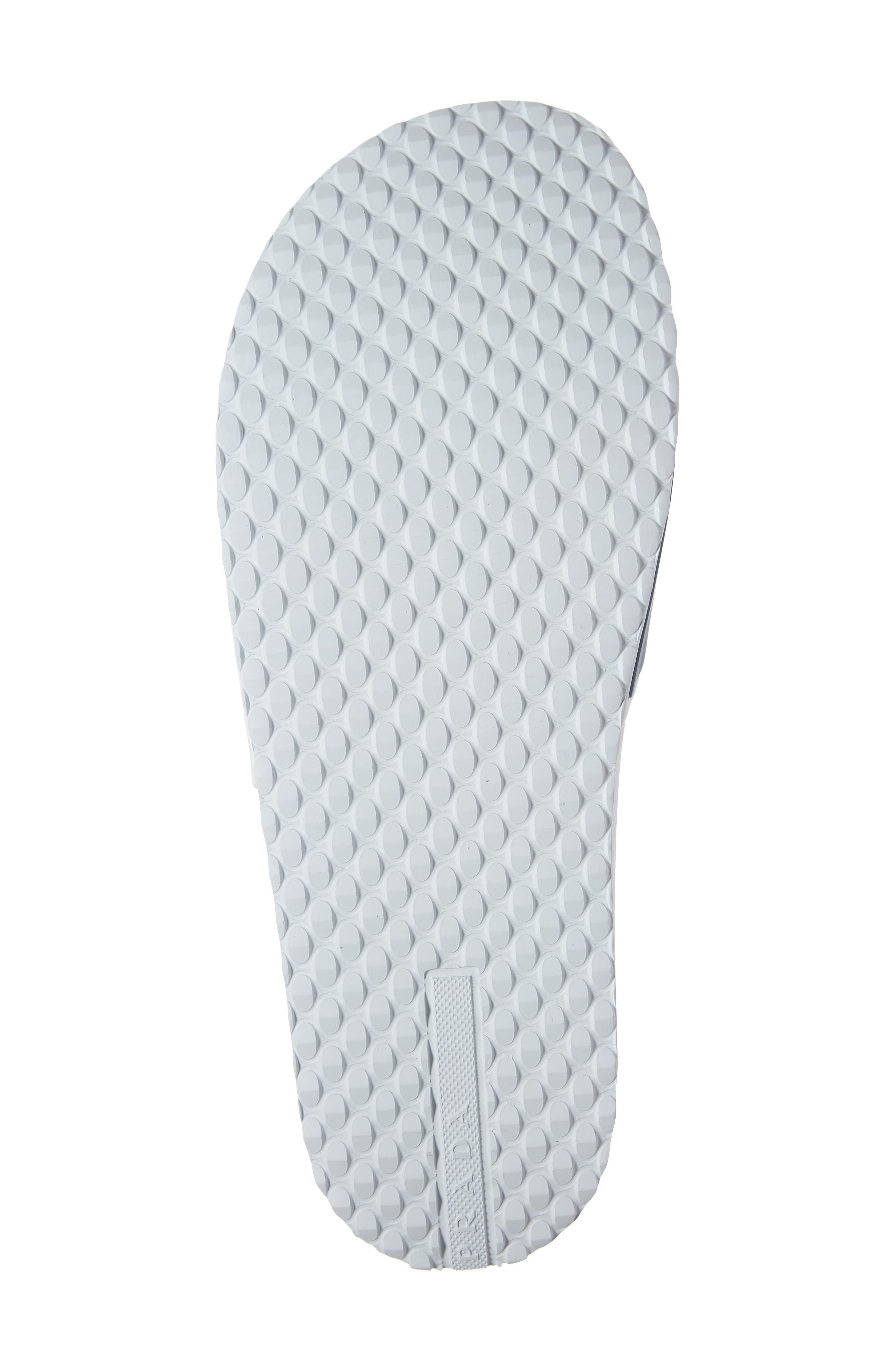 PRADA, Linea Rossa Logo Slide Sandal, Alternate thumbnail 6, color, WHITE/ BLUE