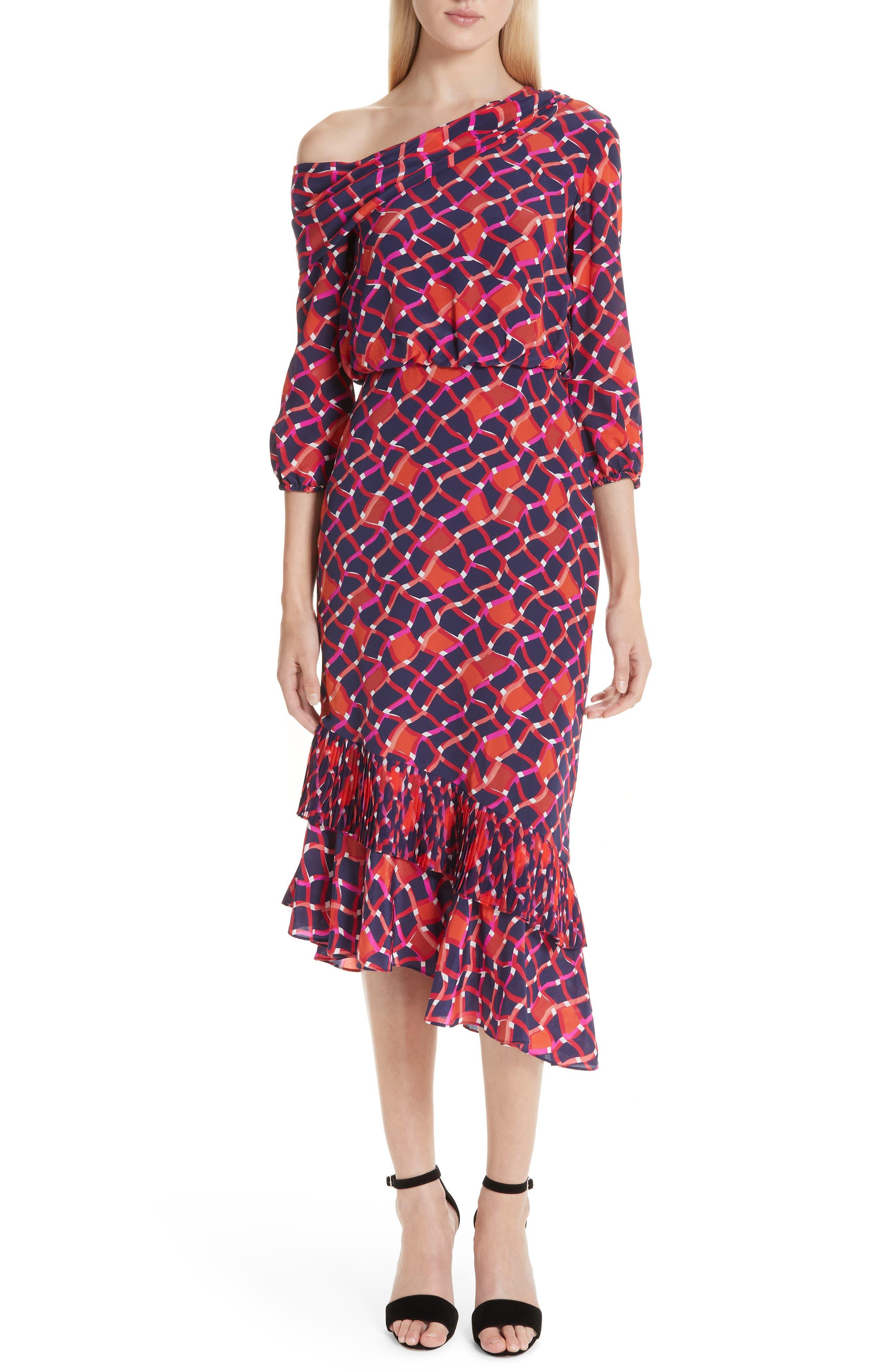 SALONI, Lexie Silk Asymmetrical Dress, Main thumbnail 1, color, MAZE