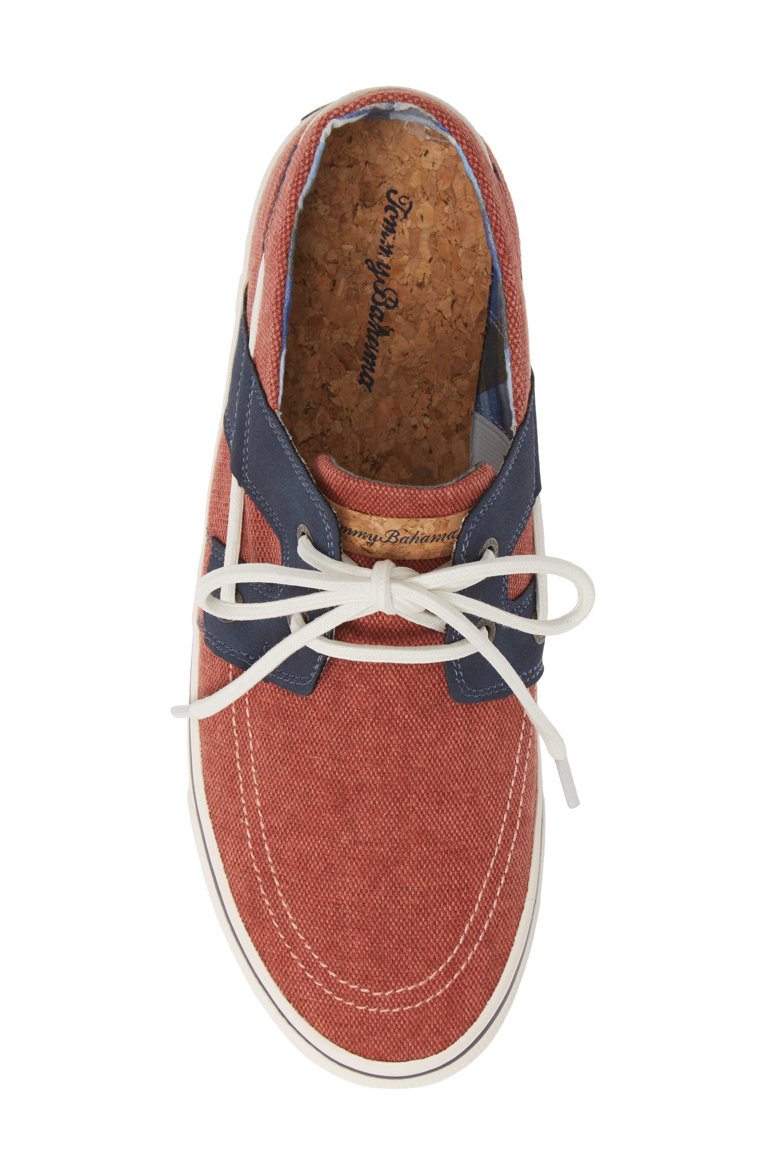 TOMMY BAHAMA, Stripe Breaker Sneaker, Alternate thumbnail 5, color, RED WASHED CANVAS/ LEATHER