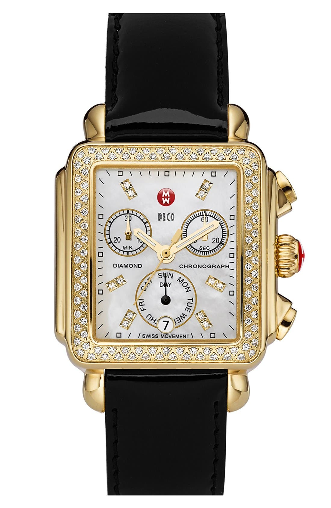 MICHELE, Deco Diamond Diamond Dial Gold Plated Watch Case, 33mm x 35mm, Alternate thumbnail 7, color, GOLD
