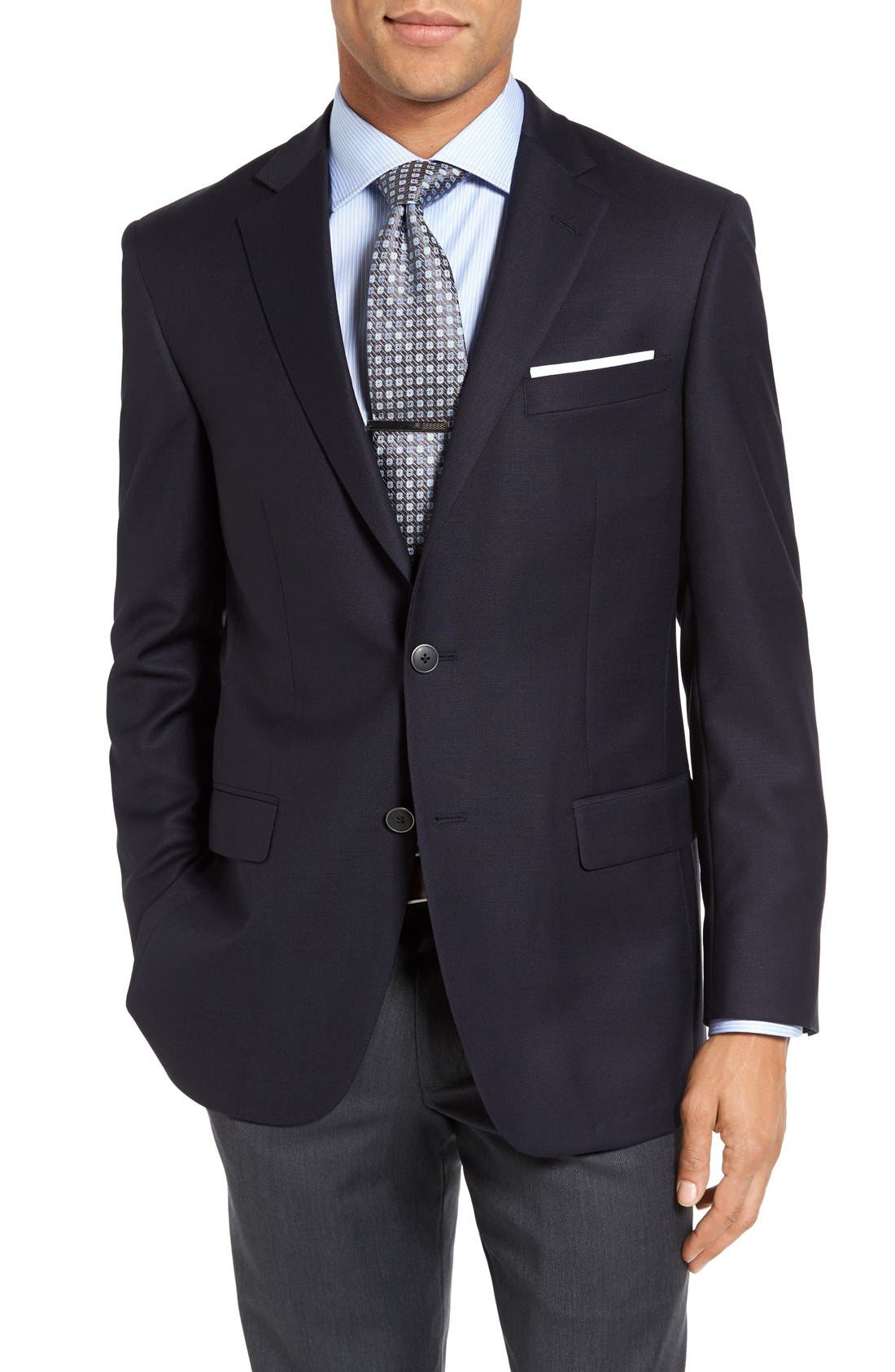 HART SCHAFFNER MARX, New York Classic Fit Wool Blend Blazer, Main thumbnail 1, color, NAVY