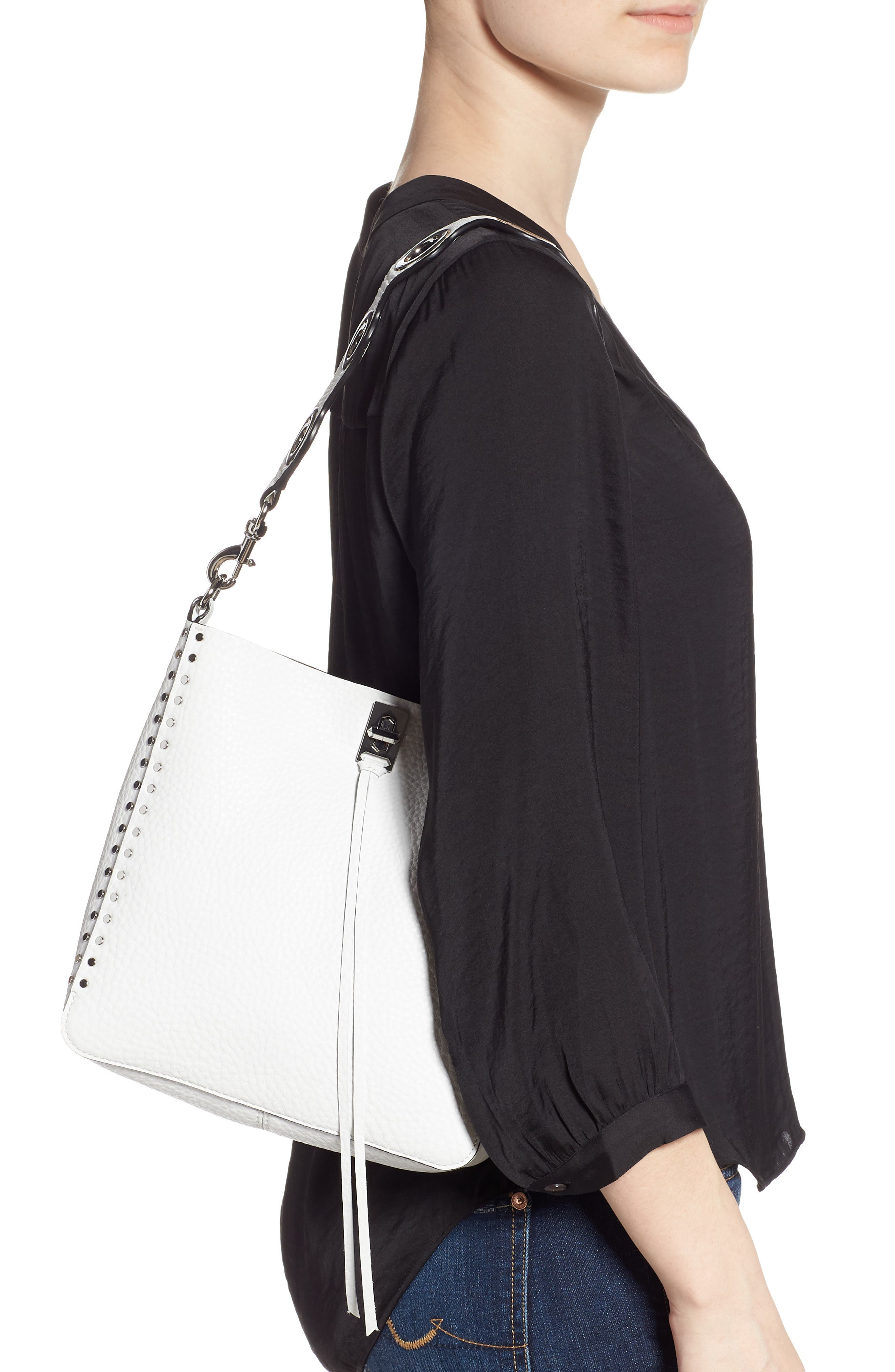REBECCA MINKOFF, Small Studded Leather Feed Bag, Alternate thumbnail 2, color, OPTIC WHITE