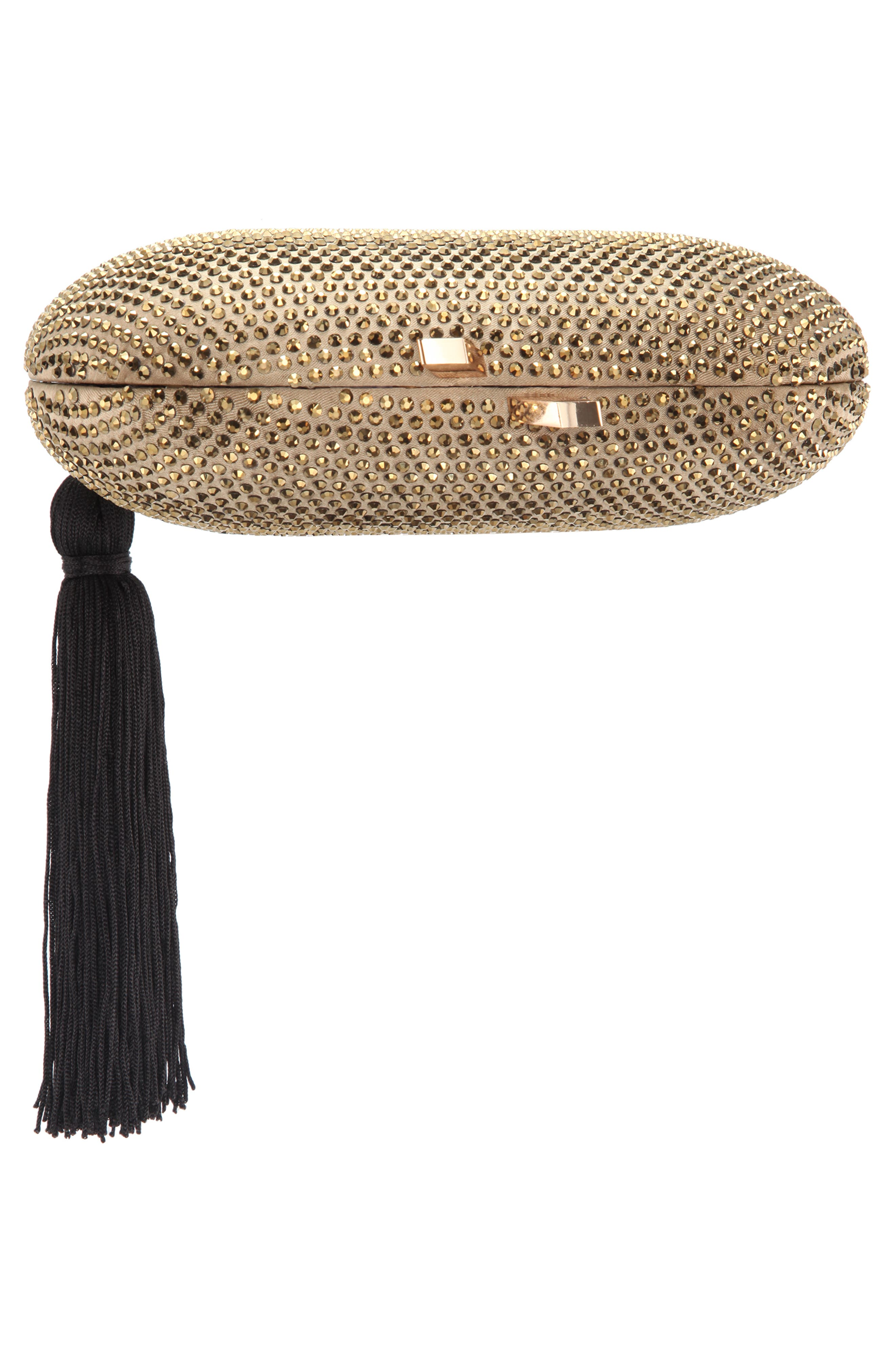 NINA, Oval Minaudière with Tassel, Alternate thumbnail 5, color, DARK GOLD