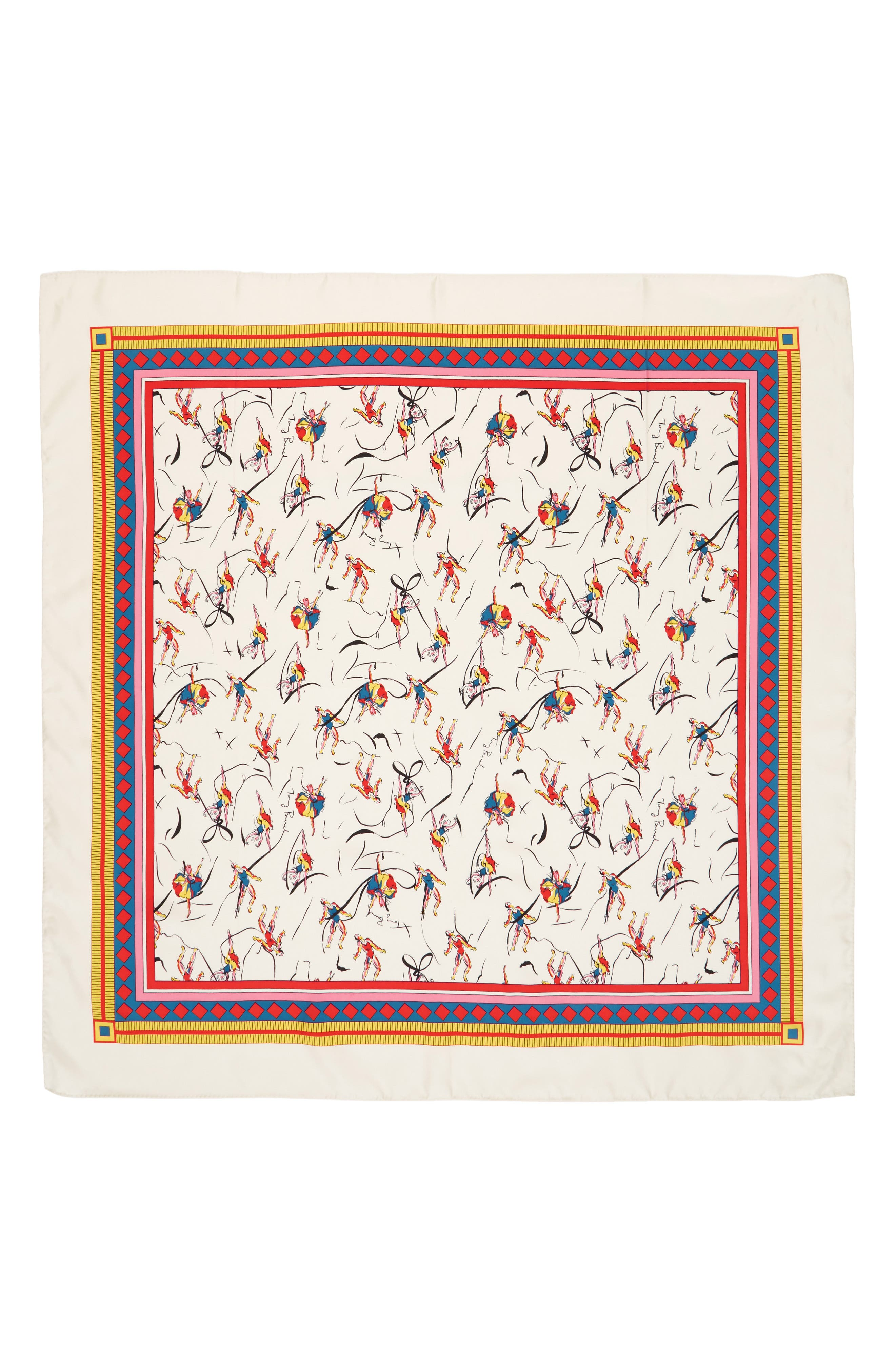 TORY BURCH, Dancers Silk Square Scarf, Alternate thumbnail 2, color, 900