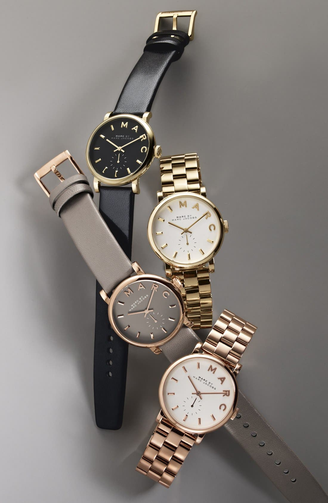 MARC JACOBS, 'Baker' Leather Strap Watch, 37mm, Alternate thumbnail 7, color, 001
