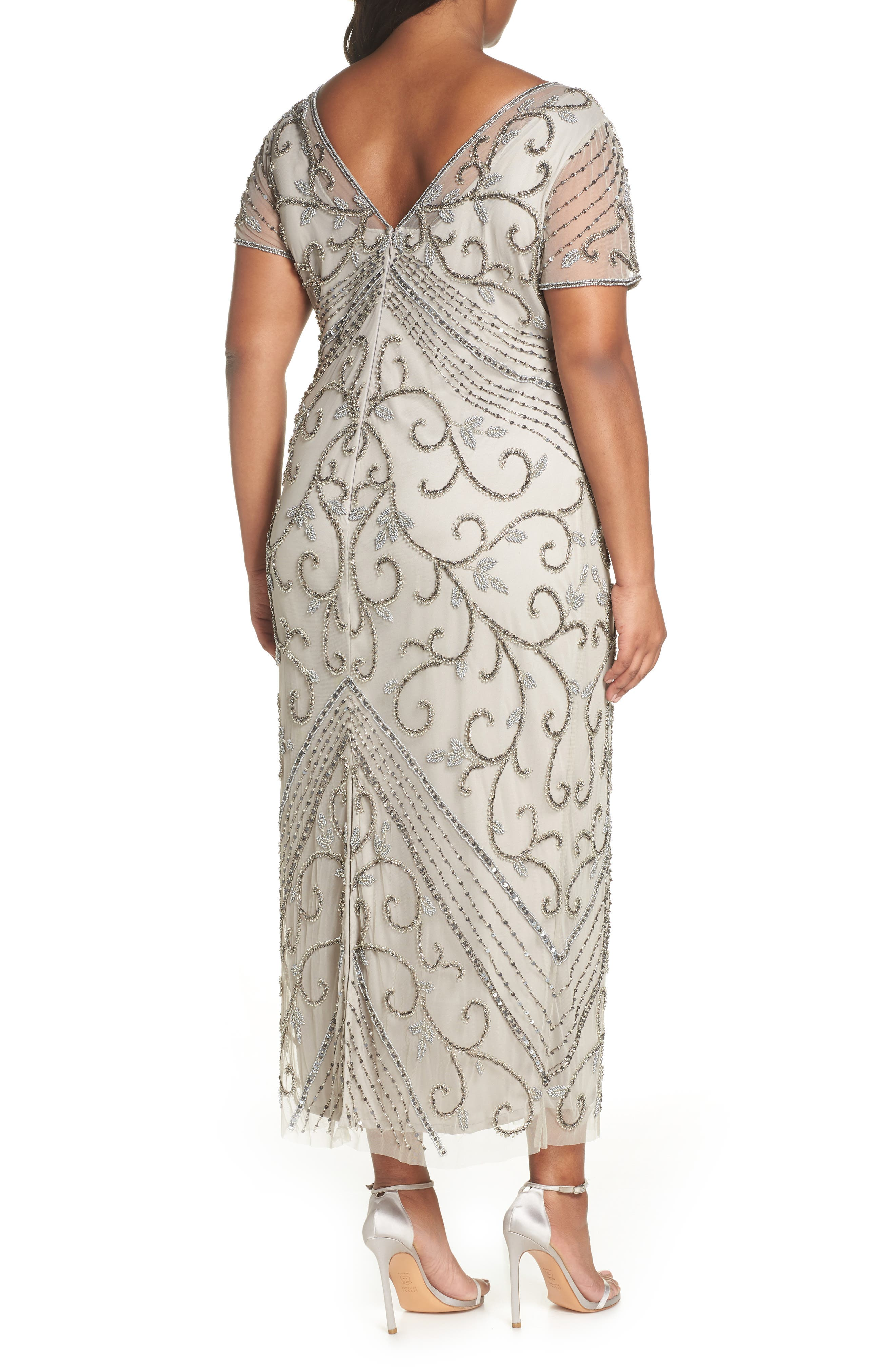 PISARRO NIGHTS, Beaded Mesh Gown, Alternate thumbnail 2, color, SILVER
