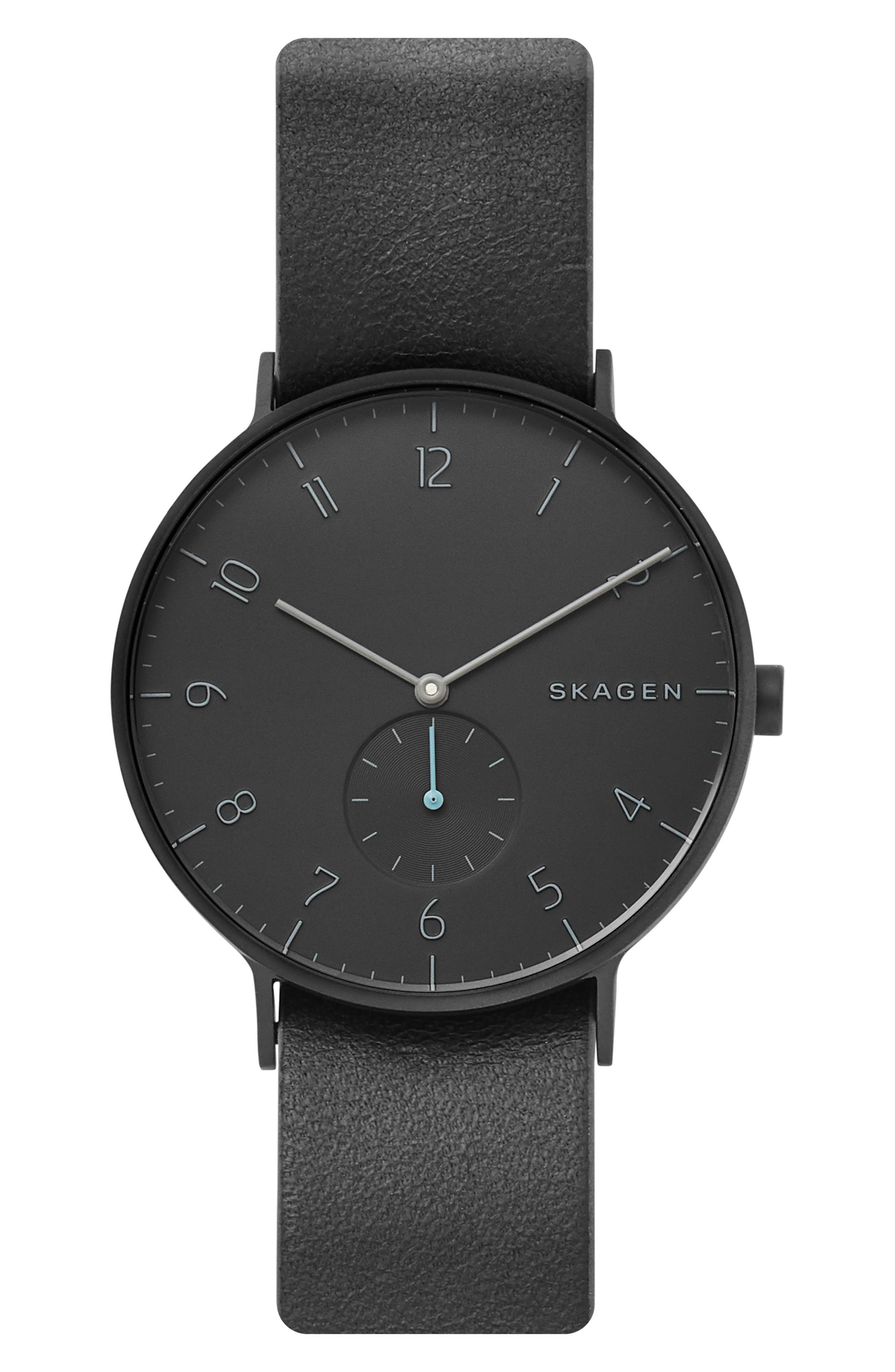 SKAGEN, Aaren Reversible Leather Strap Watch, 40mm, Alternate thumbnail 5, color, 001