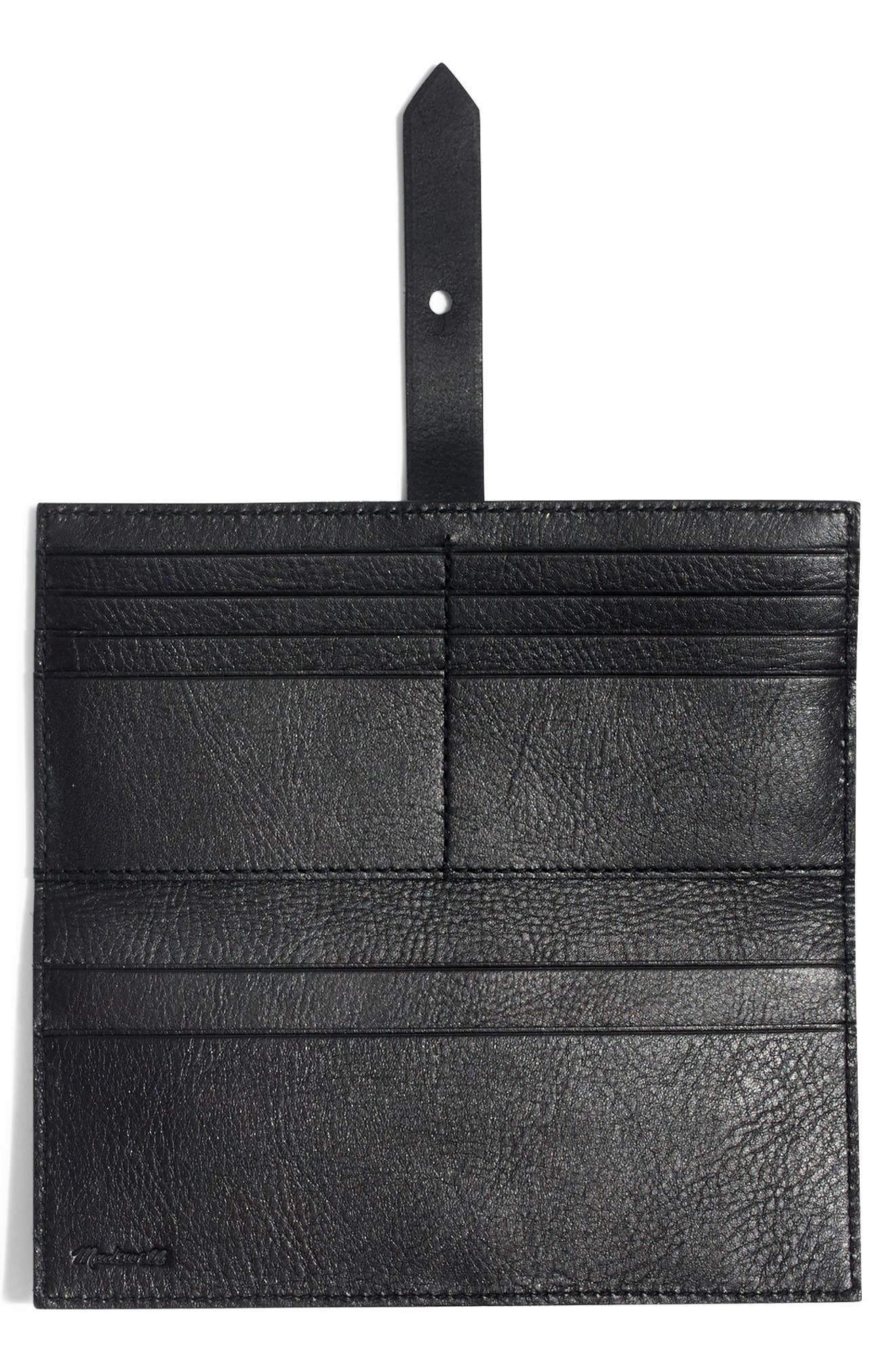 MADEWELL, New Post Leather Wallet, Alternate thumbnail 2, color, TRUE BLACK