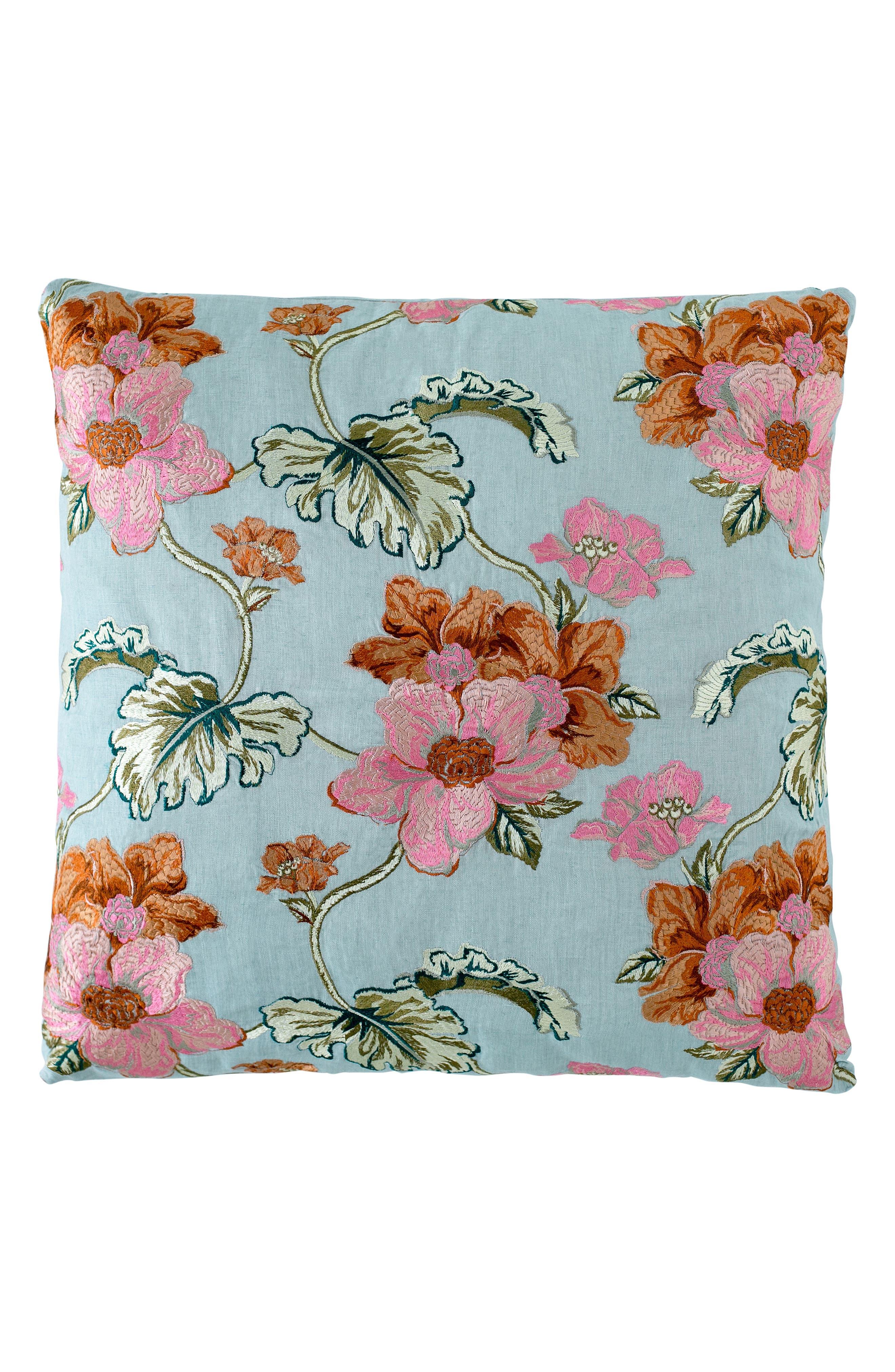 EADIE LIFESTYLE Scatter Linen Accent Pillow, Main, color, SEA MIST MULTI