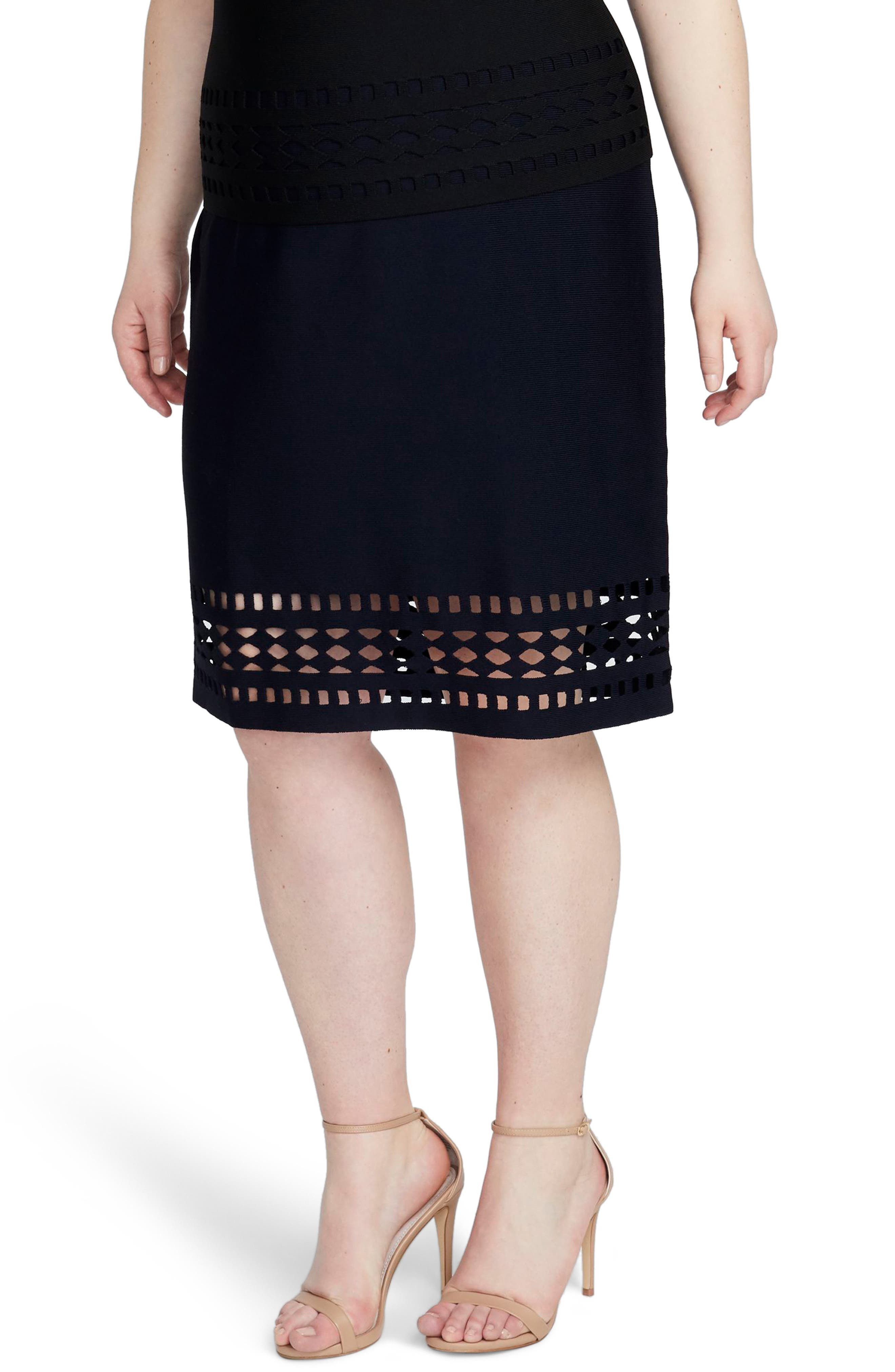 RACHEL RACHEL ROY, Cutout Knit Skirt, Main thumbnail 1, color, 001