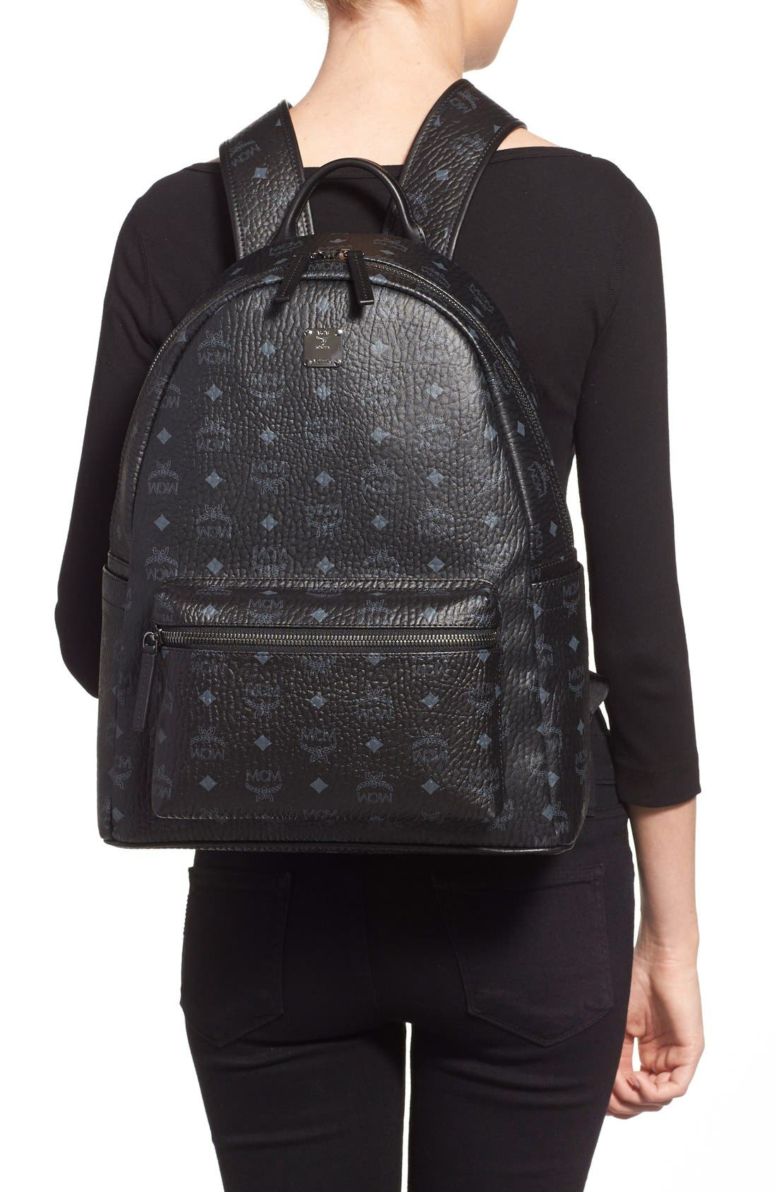 MCM, Medium Stark - Visetos Backpack, Alternate thumbnail 2, color, BLACK