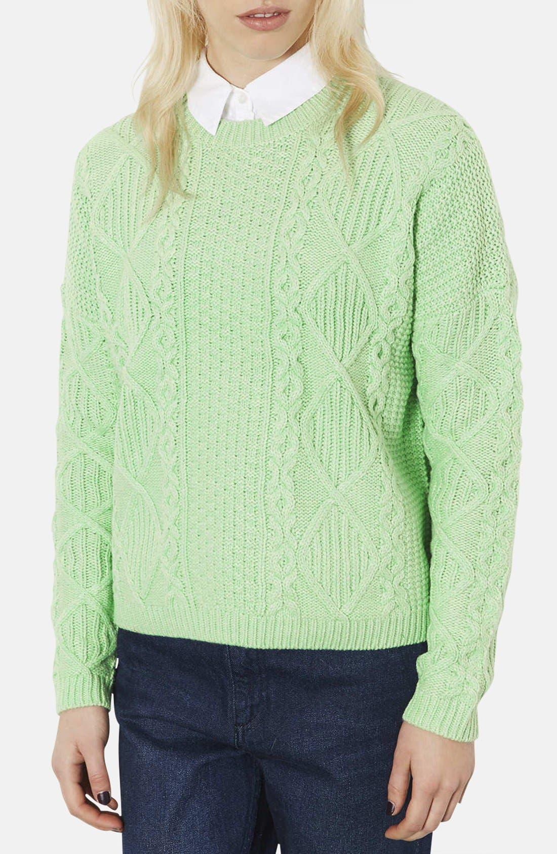 TOPSHOP, Crewneck Cable Knit Sweater, Main thumbnail 1, color, 340