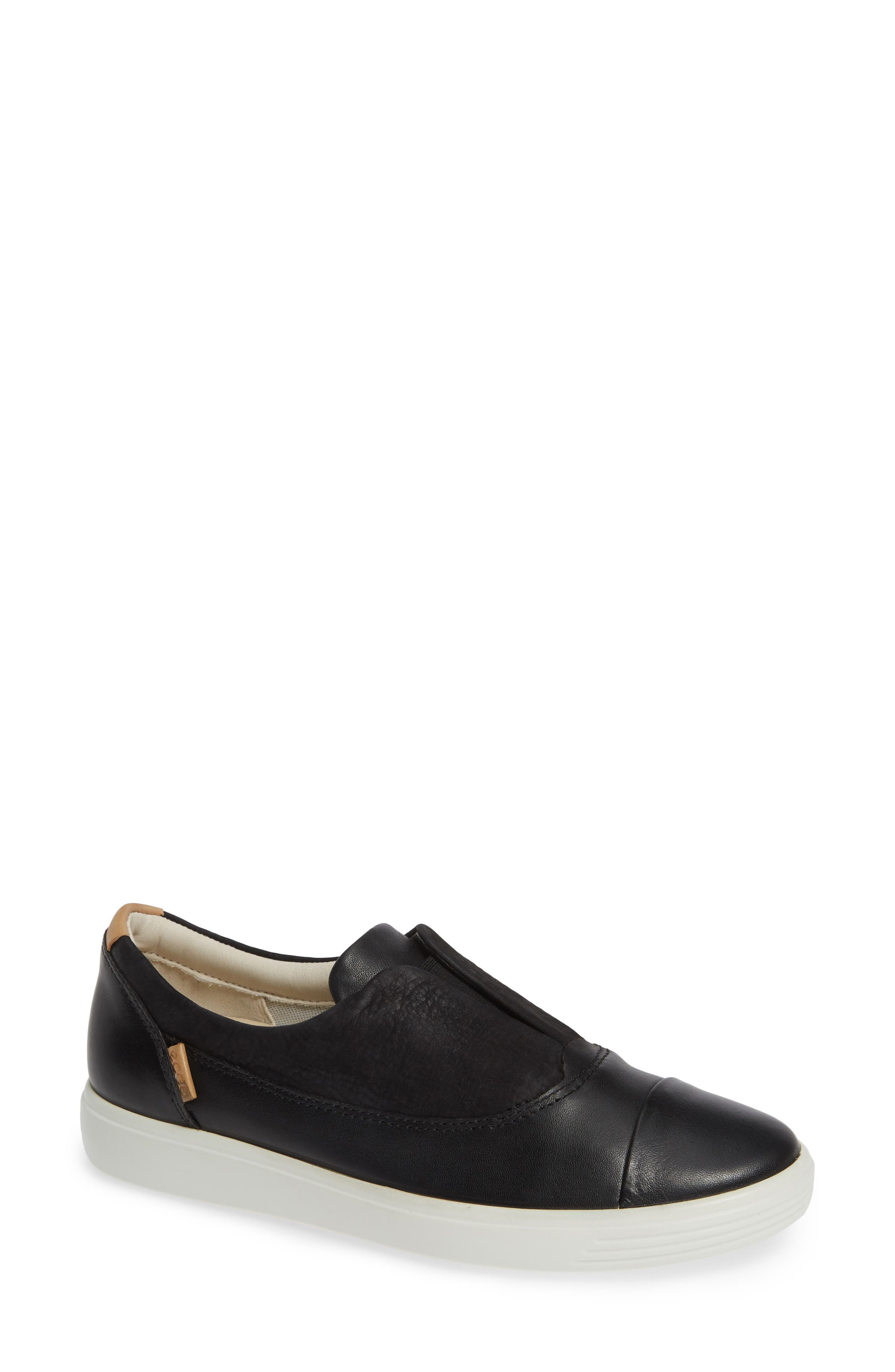 ECCO, Soft 7 II Slip-On Sneaker, Main thumbnail 1, color, BLACK LEATHER