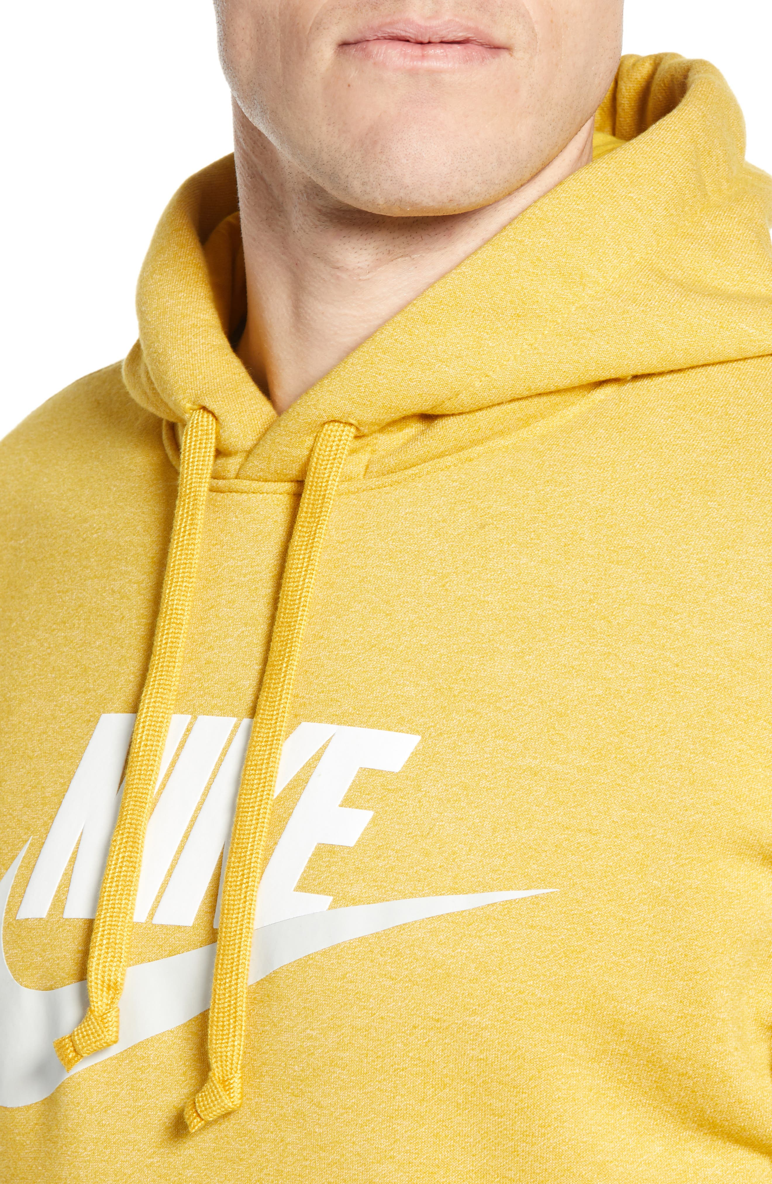 NIKE, Heritage Logo Hoodie, Alternate thumbnail 4, color, GOLD DART/ HEATHER