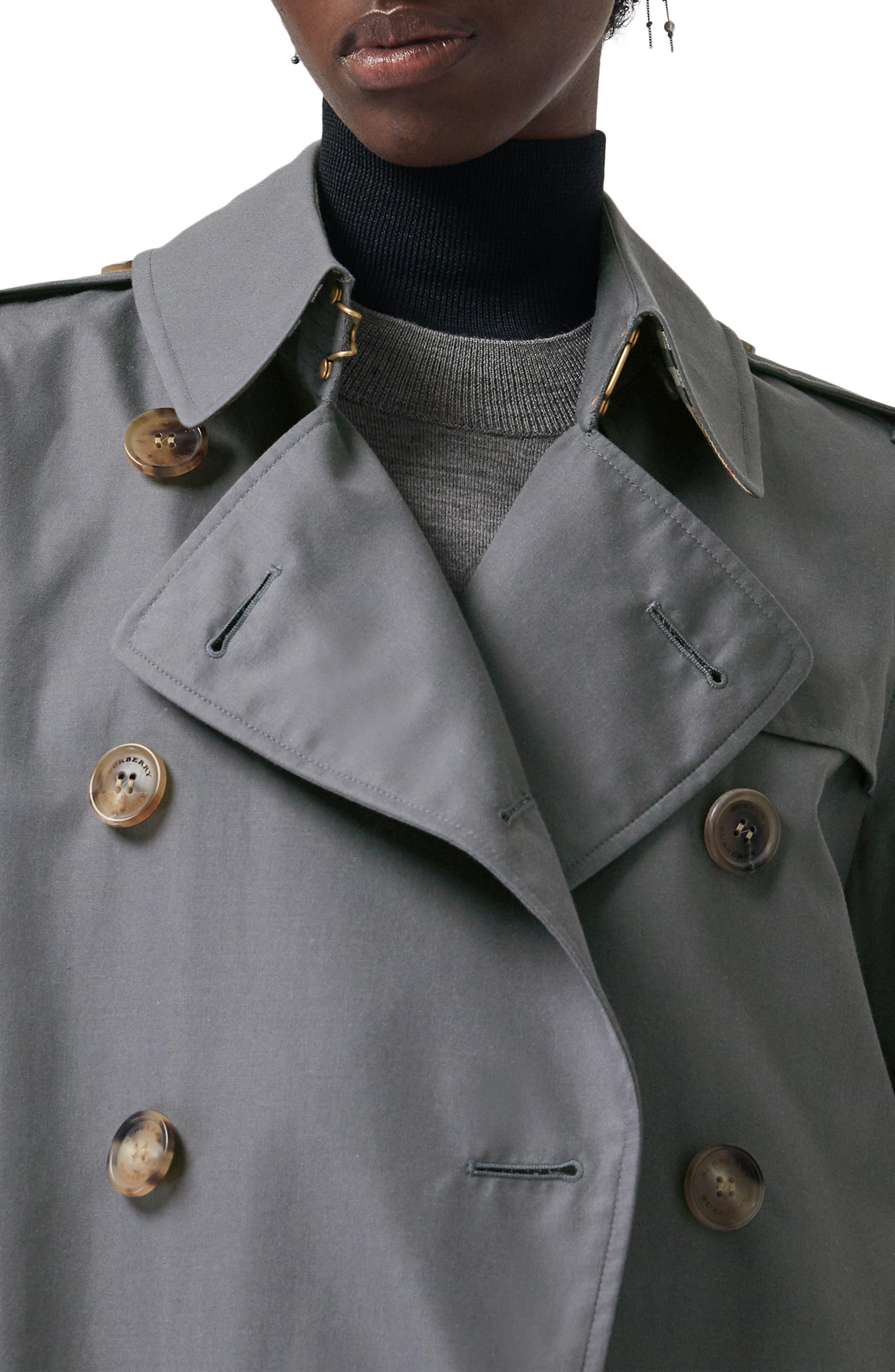 BURBERRY, Kensington Long Heritage Trench Coat, Alternate thumbnail 3, color, MID GREY