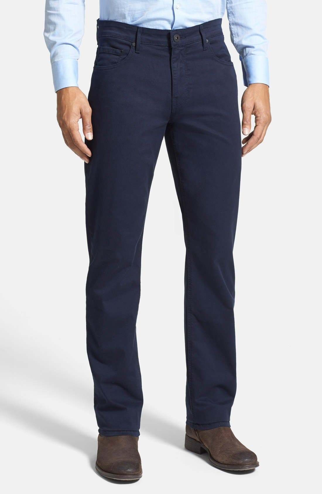 PAIGE Normandie Slim Straight Leg Twill Pants, Main, color, NAVY CADET