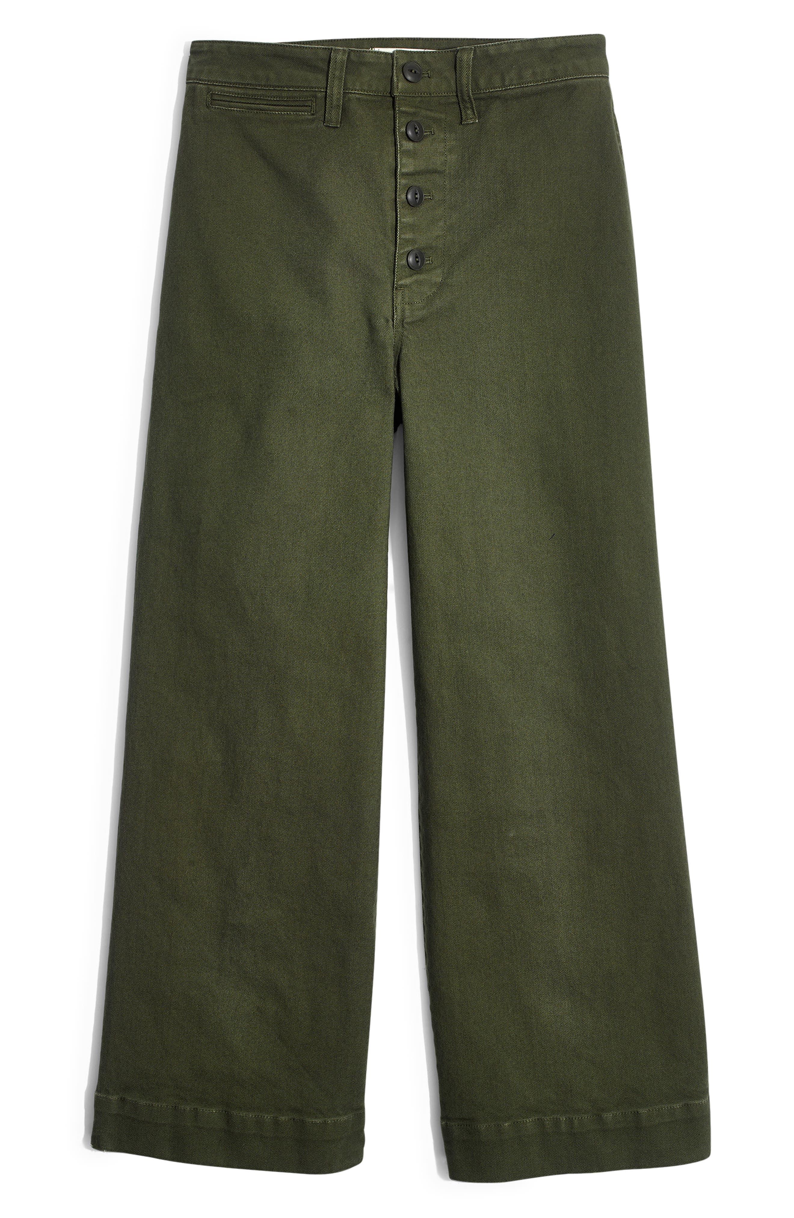 MADEWELL, Emmett Crop Wide Leg Pants, Alternate thumbnail 5, color, LODEN