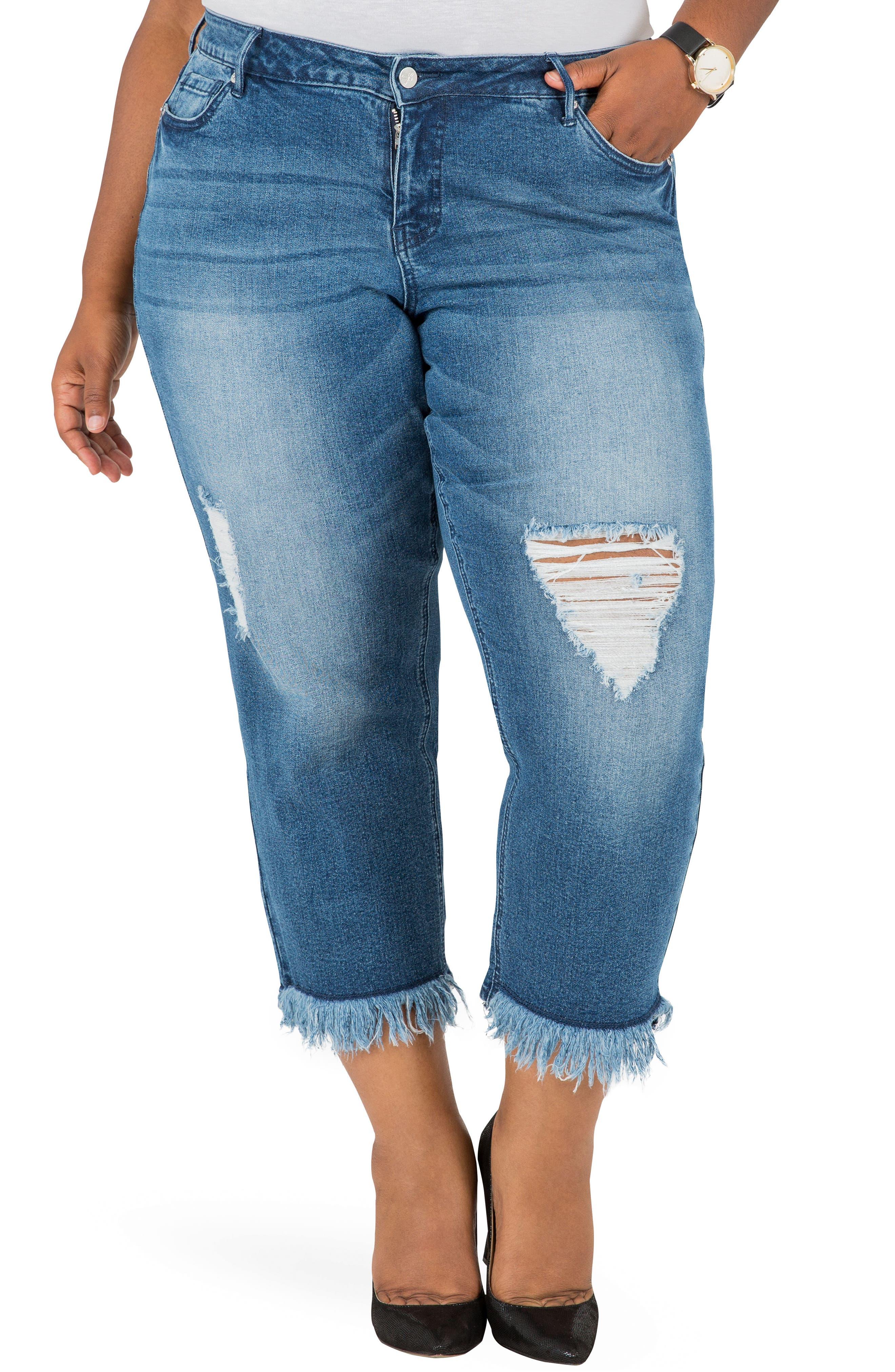 POETIC JUSTICE, Verla Frayed Hem Crop Boyfriend Jeans, Main thumbnail 1, color, LIGHT BLUE
