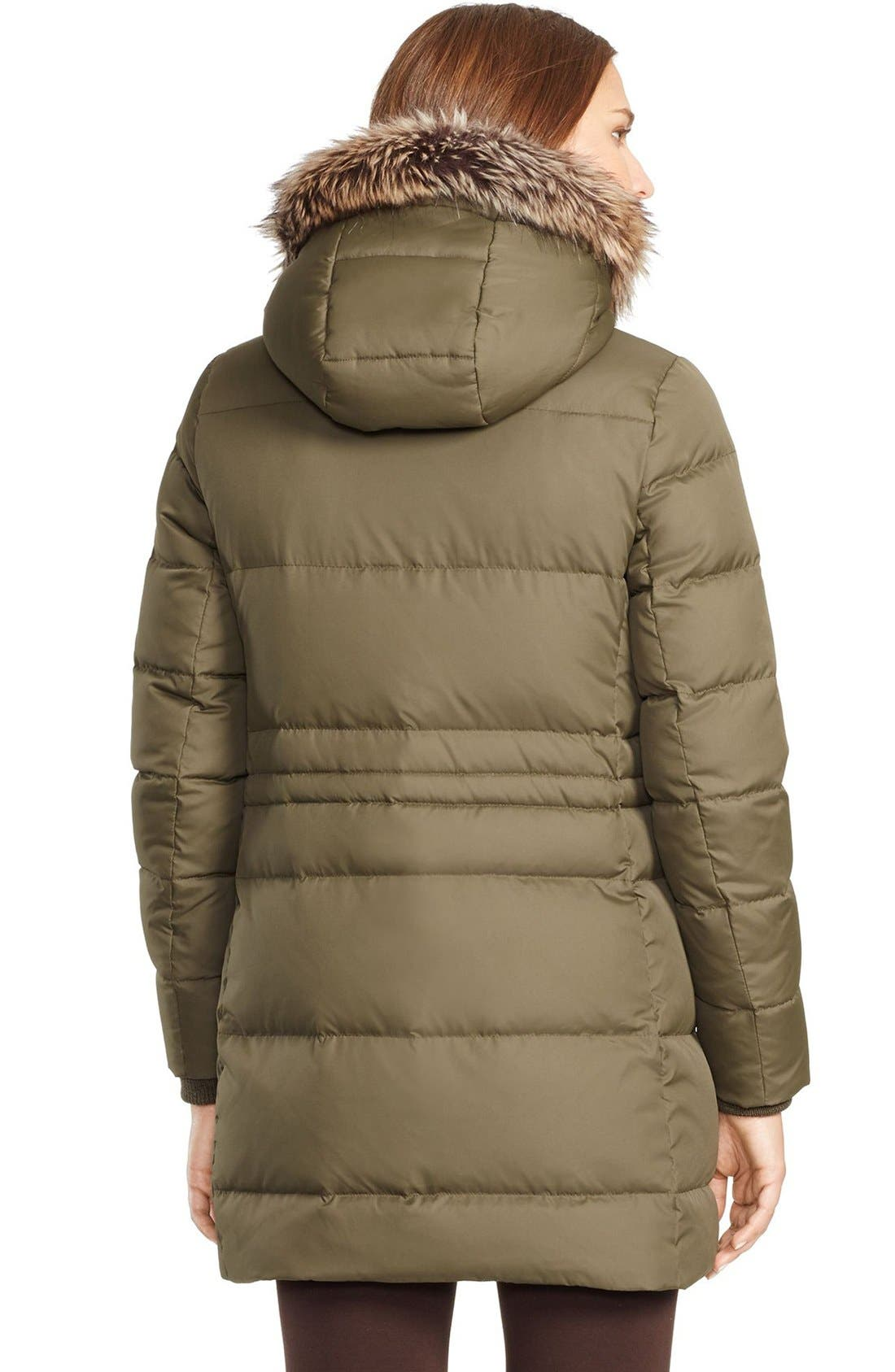 LAUREN RALPH LAUREN, Faux Fur Trim Down & Feather Fill Parka, Alternate thumbnail 2, color, 313