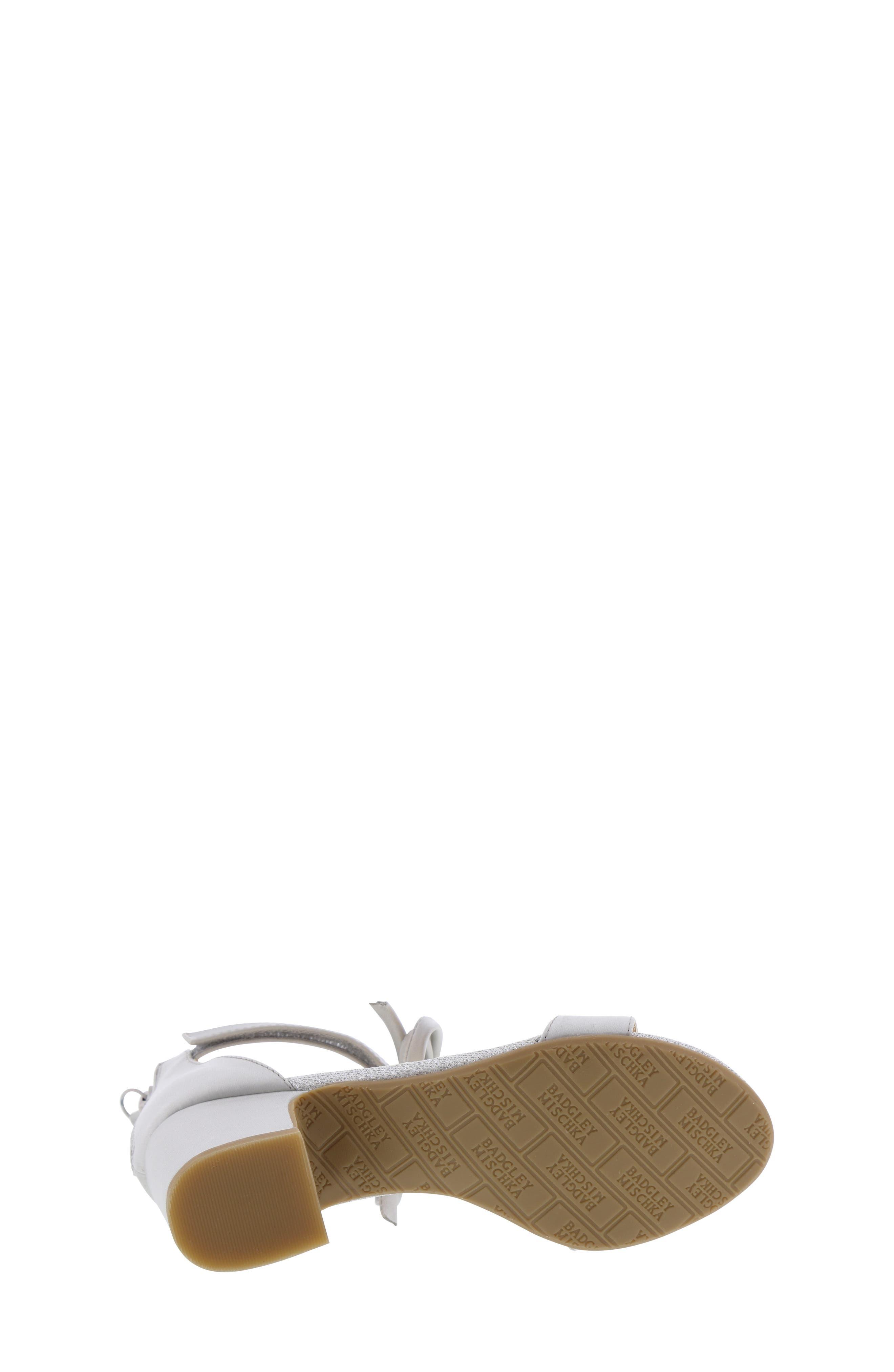 BADGLEY MISCHKA COLLECTION, Badgley Mischka Pernia Embellished Bow Sandal, Alternate thumbnail 6, color, SILVER