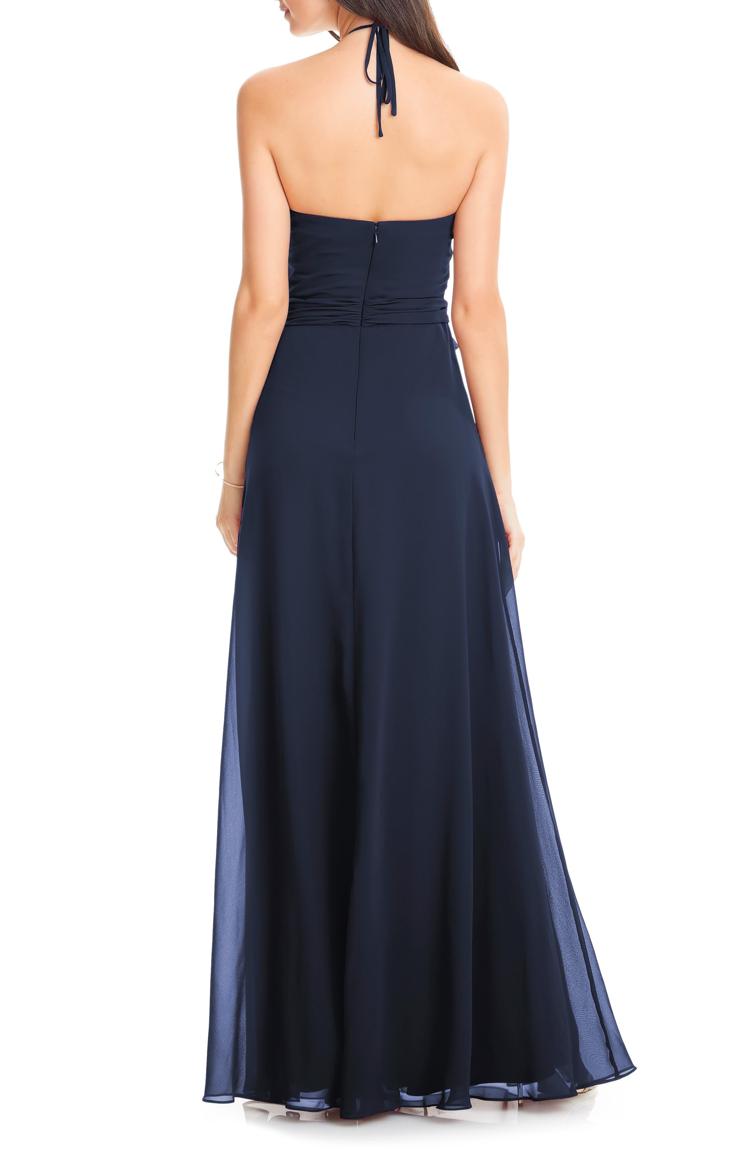 #LEVKOFF, Chiffon Tie Waist Halter Gown, Alternate thumbnail 2, color, NAVY