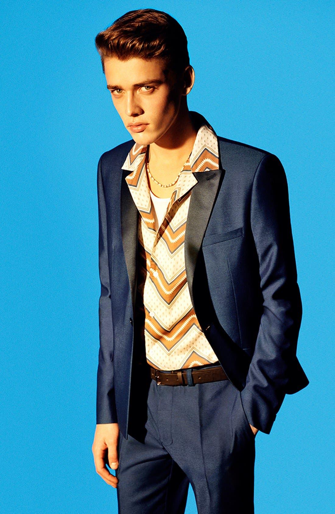 TOPMAN, Blue Skinny Fit Tuxedo Jacket, Alternate thumbnail 4, color, 400