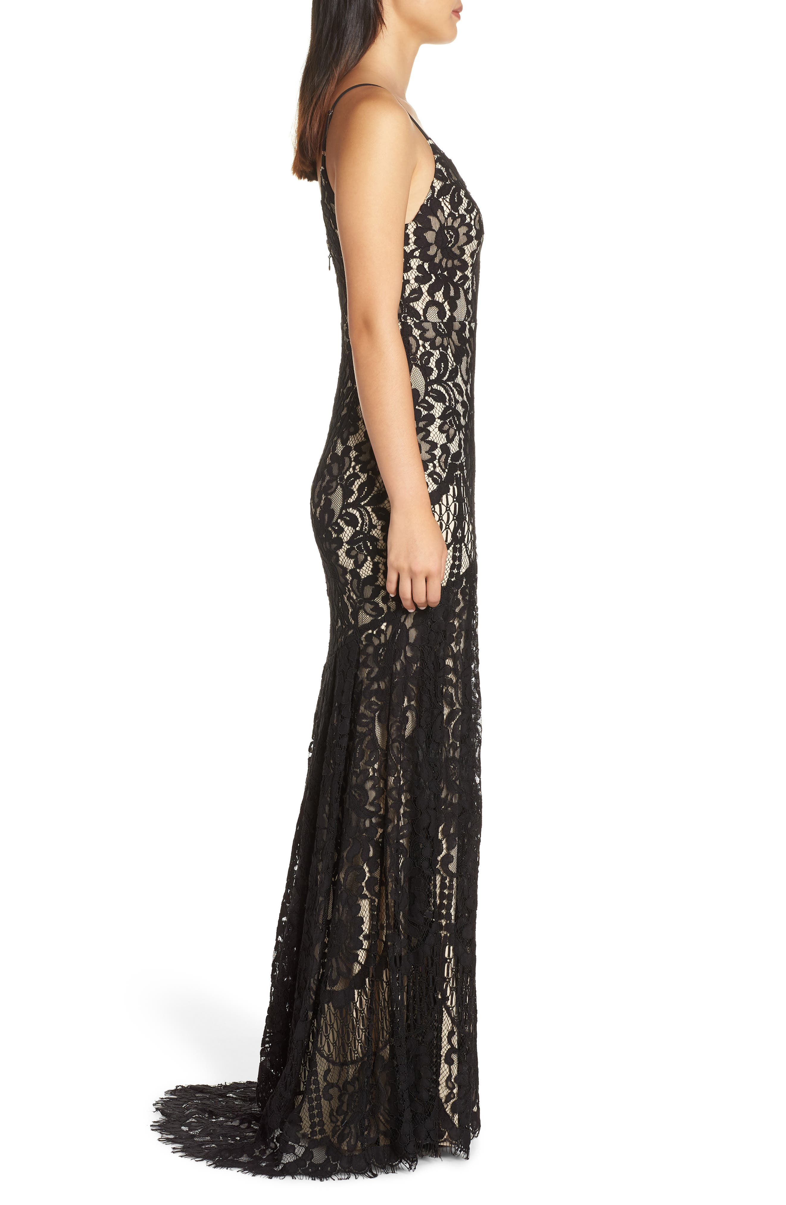 LULUS, Flynn Lace Gown with Train, Alternate thumbnail 4, color, BLACK/ NUDE