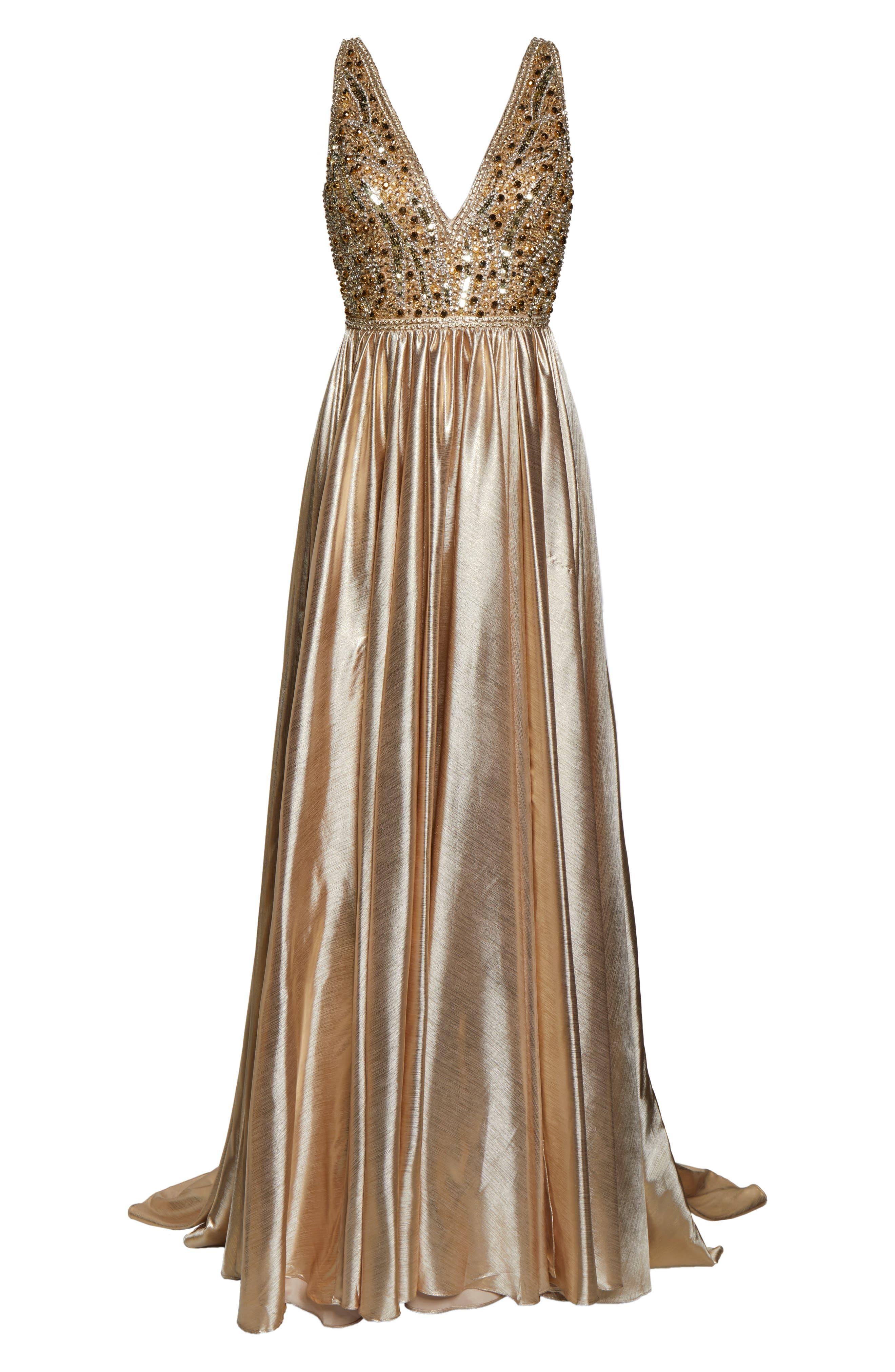 MAC DUGGAL, V-Neck Metallic Sequin Evening Dress, Alternate thumbnail 7, color, GOLD