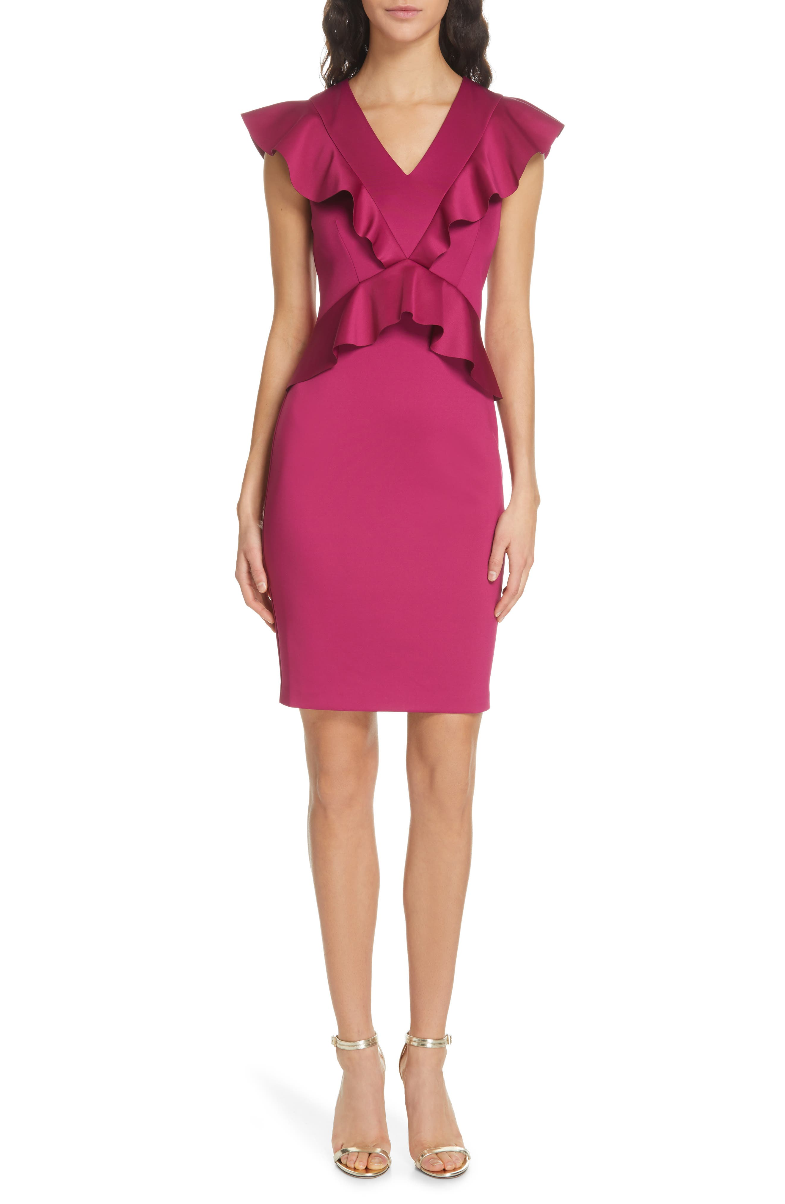 Ted Baker London Alair Ruffle Body-Con Dress, Pink