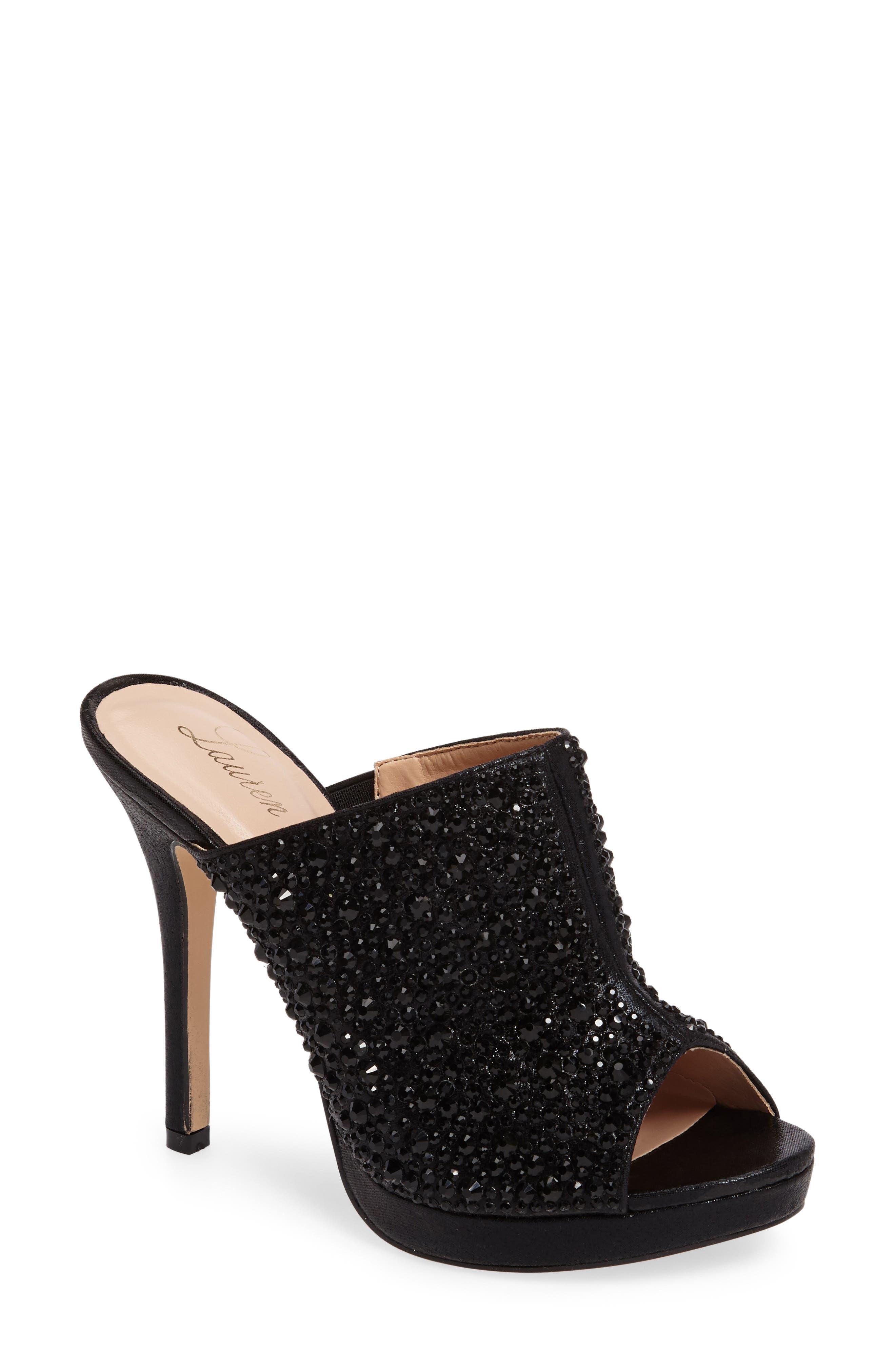 LAUREN LORRAINE, Mimi Embellished Slide Sandal, Main thumbnail 1, color, 001