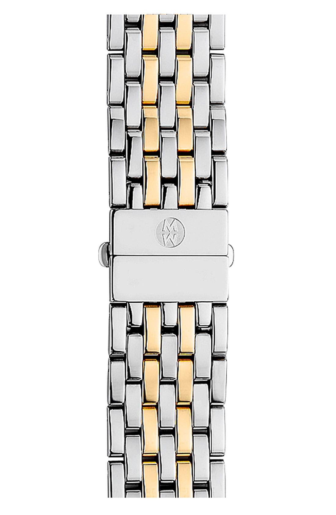 MICHELE, Deco 18mm Two-Tone Bracelet Watchband, Main thumbnail 1, color, SILVER/ GOLD