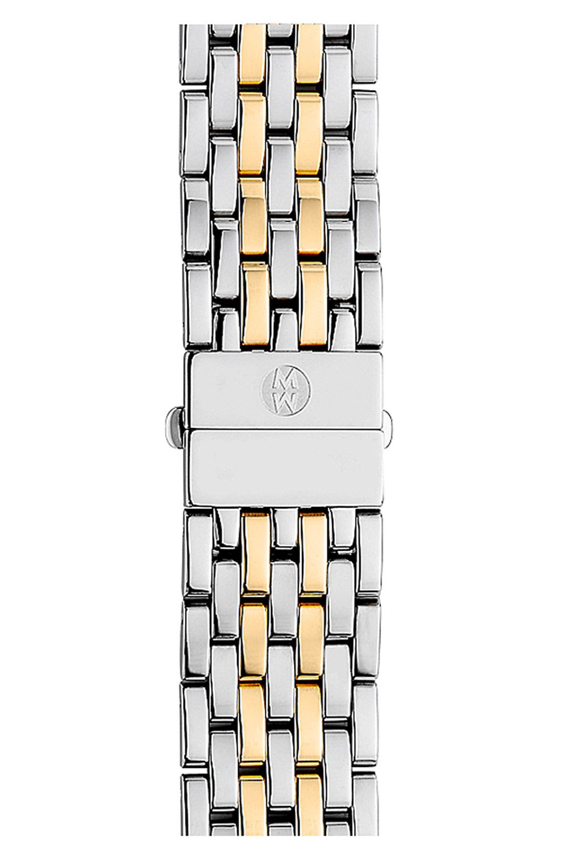 MICHELE Deco 18mm Two-Tone Bracelet Watchband, Main, color, SILVER/ GOLD