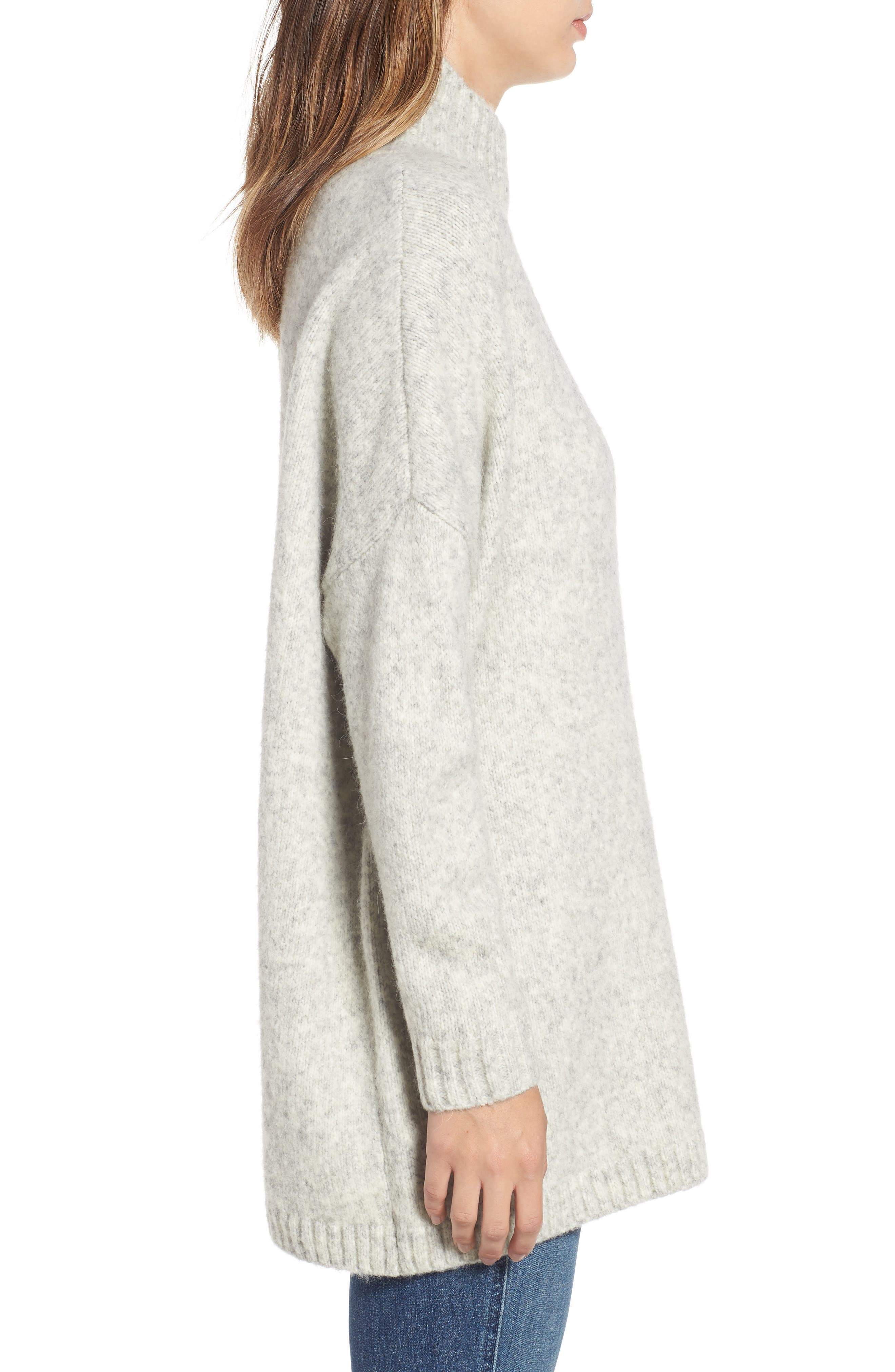 FRENCH CONNECTION, Ora Knit Pullover, Alternate thumbnail 3, color, LIGHT GREY MEL