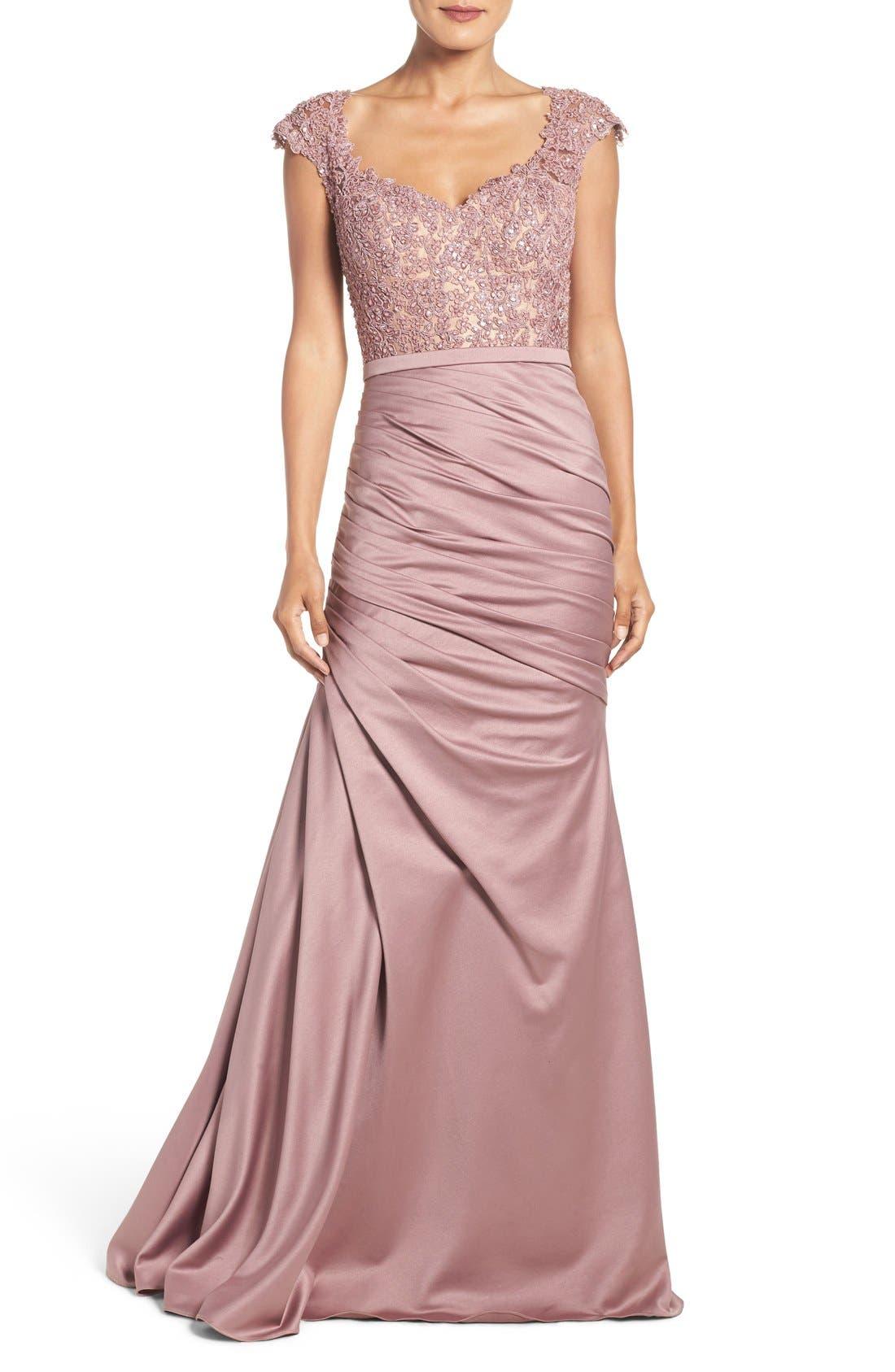 La Femme Embellished Lace & Satin Mermaid Gown, Pink