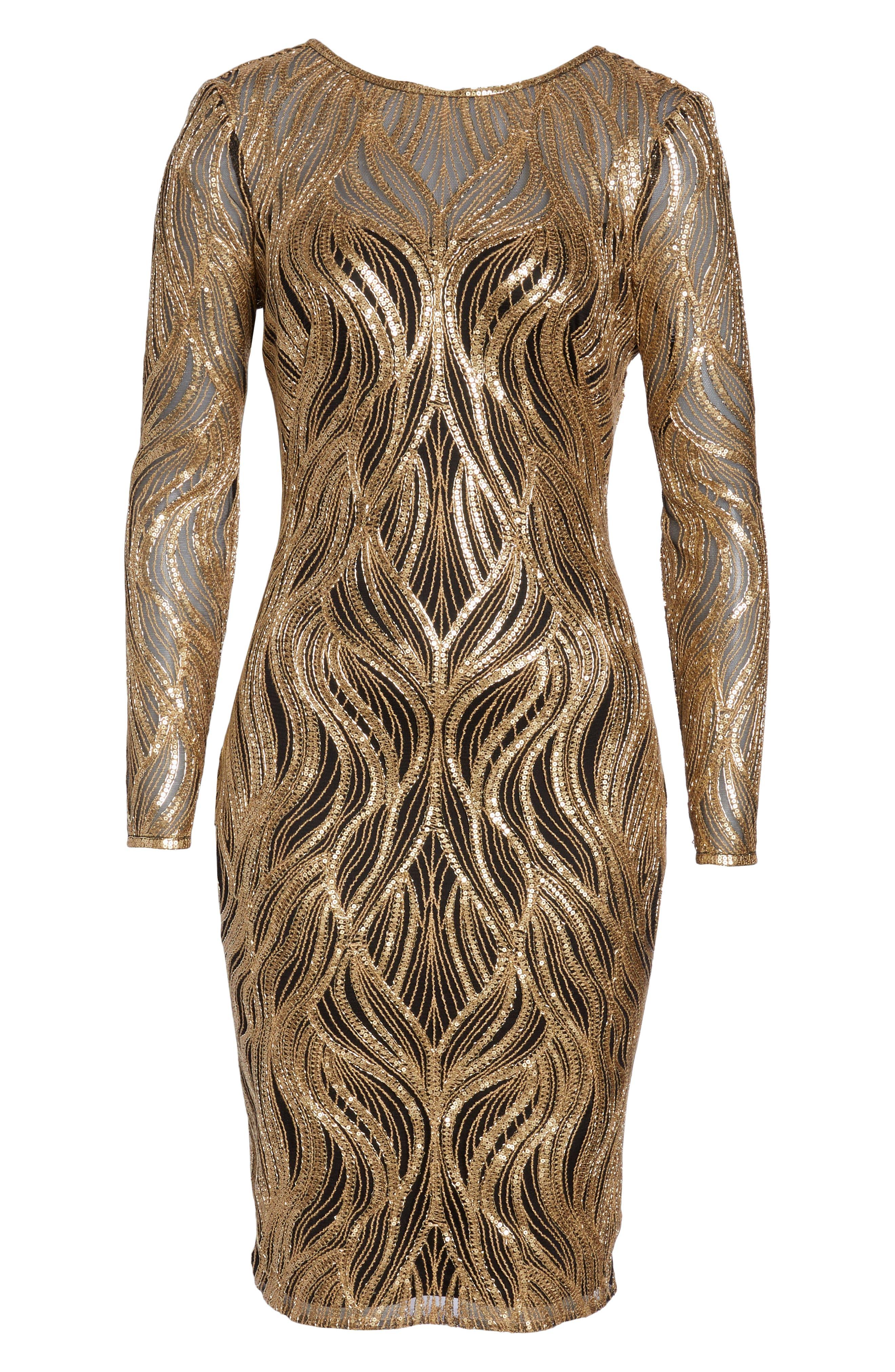 TADASHI SHOJI, Long Sleeve Sequin Mesh Cocktail Dress, Alternate thumbnail 7, color, GOLD/ BLACK