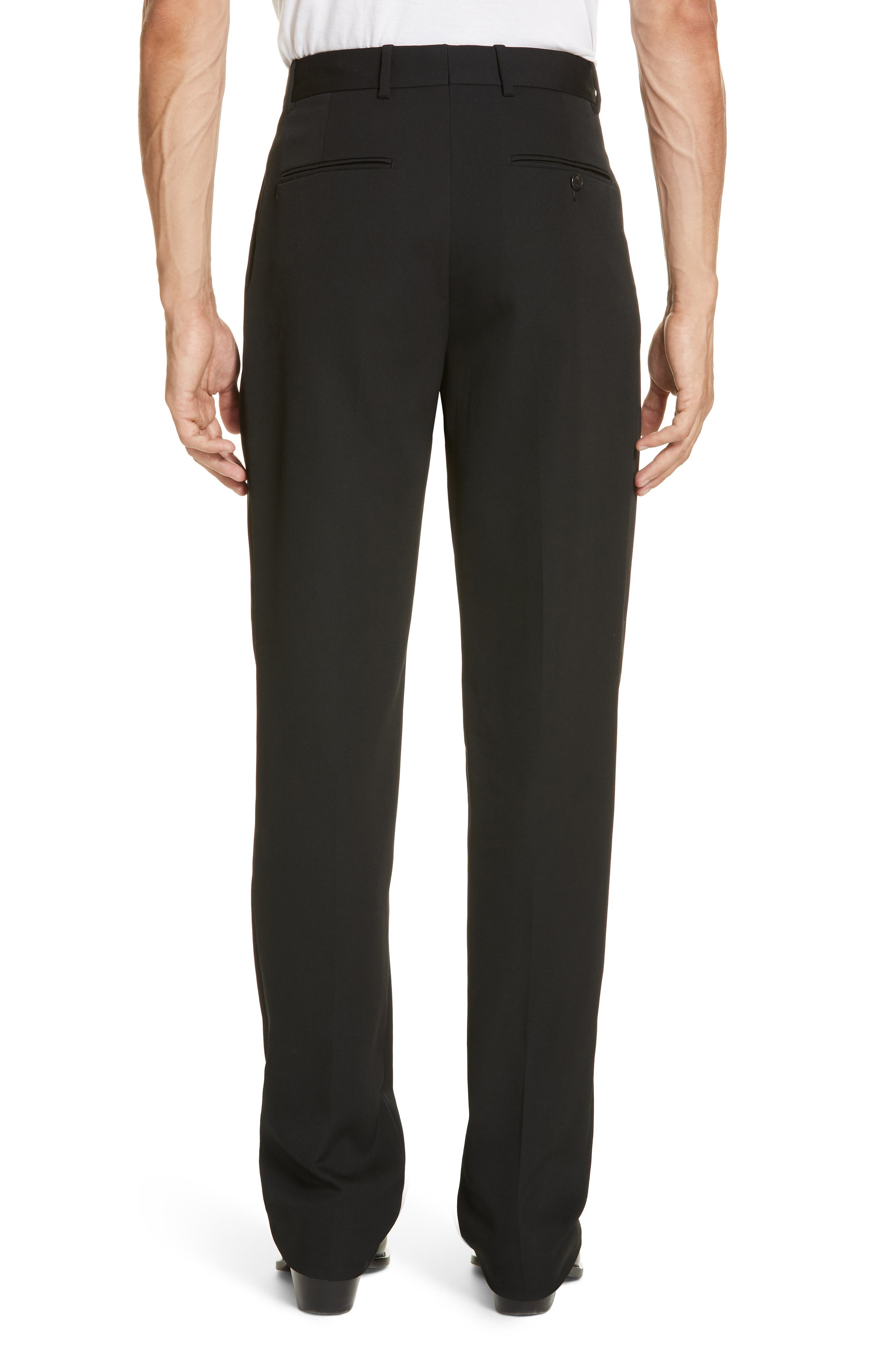 CALVIN KLEIN 205W39NYC, Wool Gabardine Pants, Alternate thumbnail 2, color, BLACK