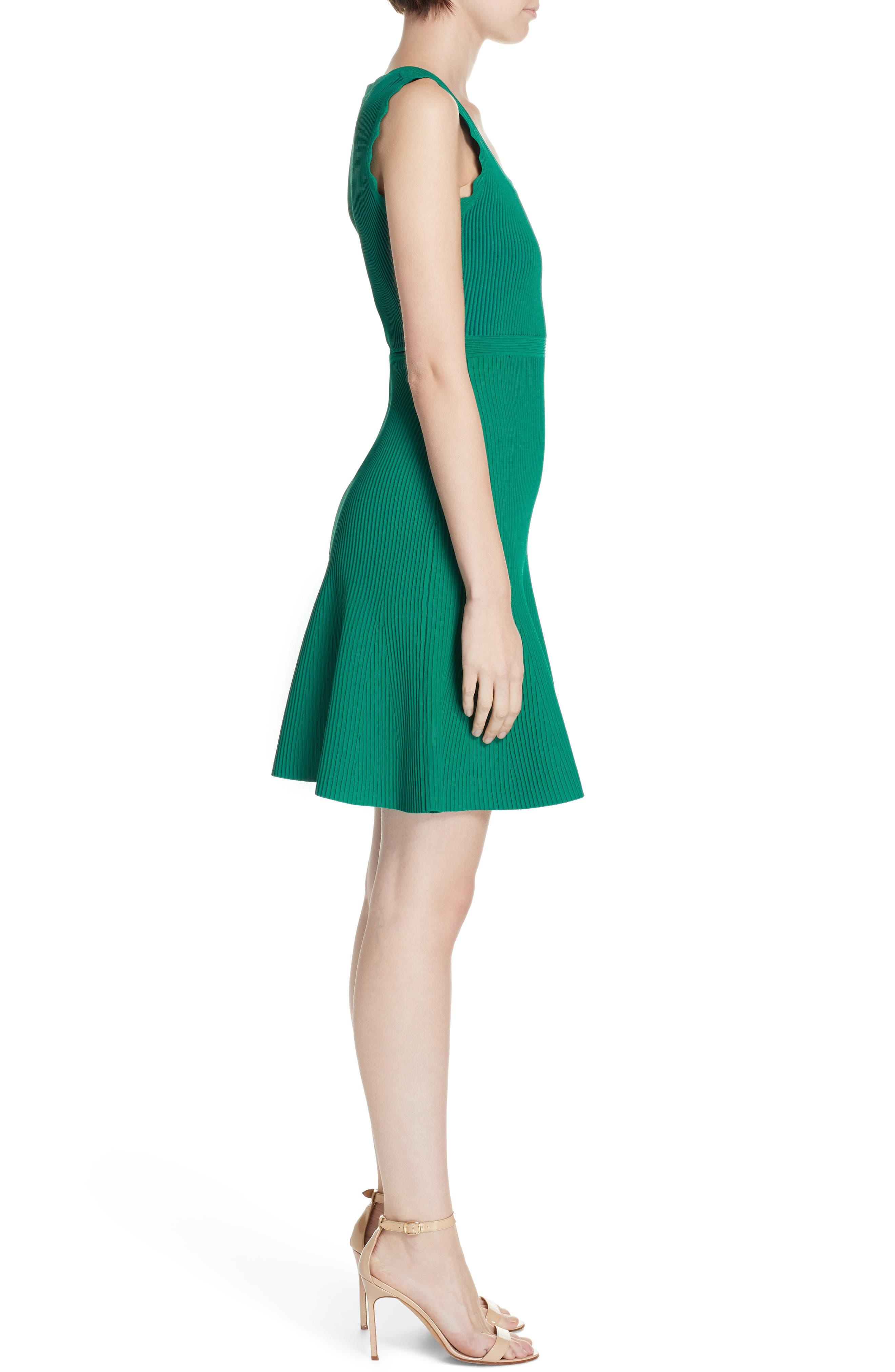 DVF, Adi Ribbed Knit Dress, Alternate thumbnail 4, color, EMERALD/ AVALON TEAL