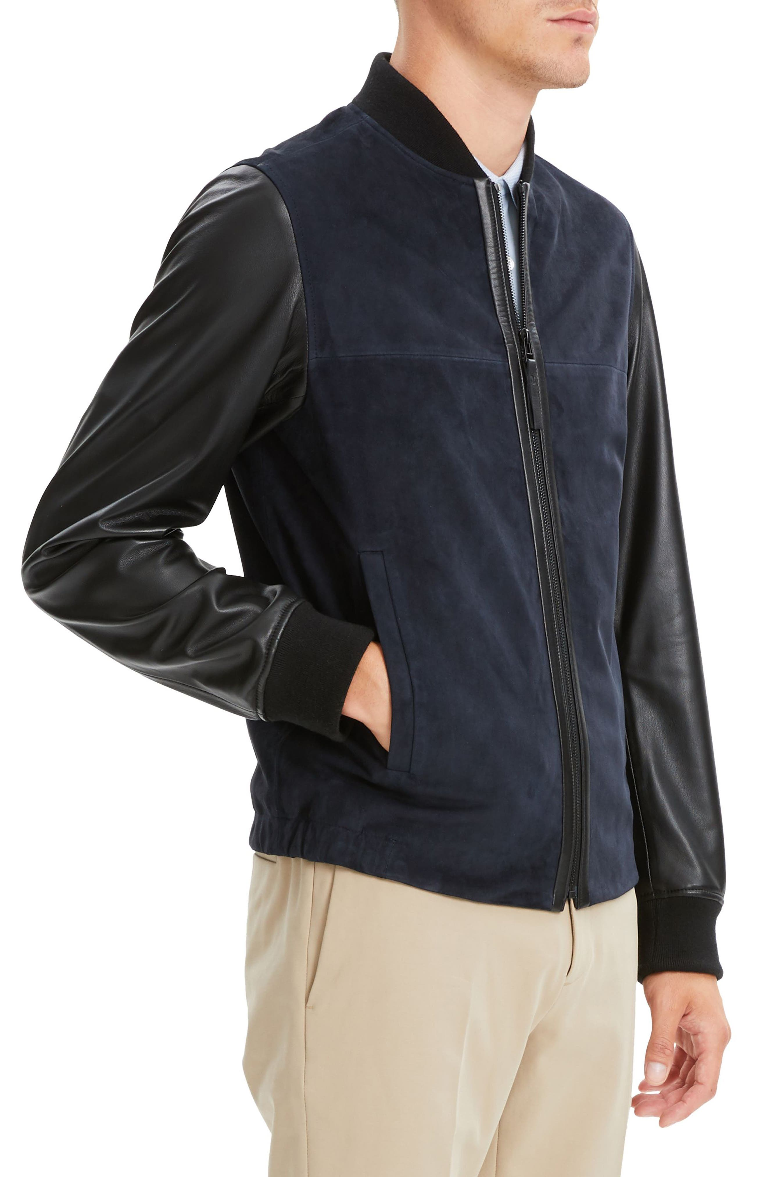 THEORY, Amir Regular Fit Suede & Leather Bomber Jacket, Alternate thumbnail 3, color, ECLIPSE/ BLACK