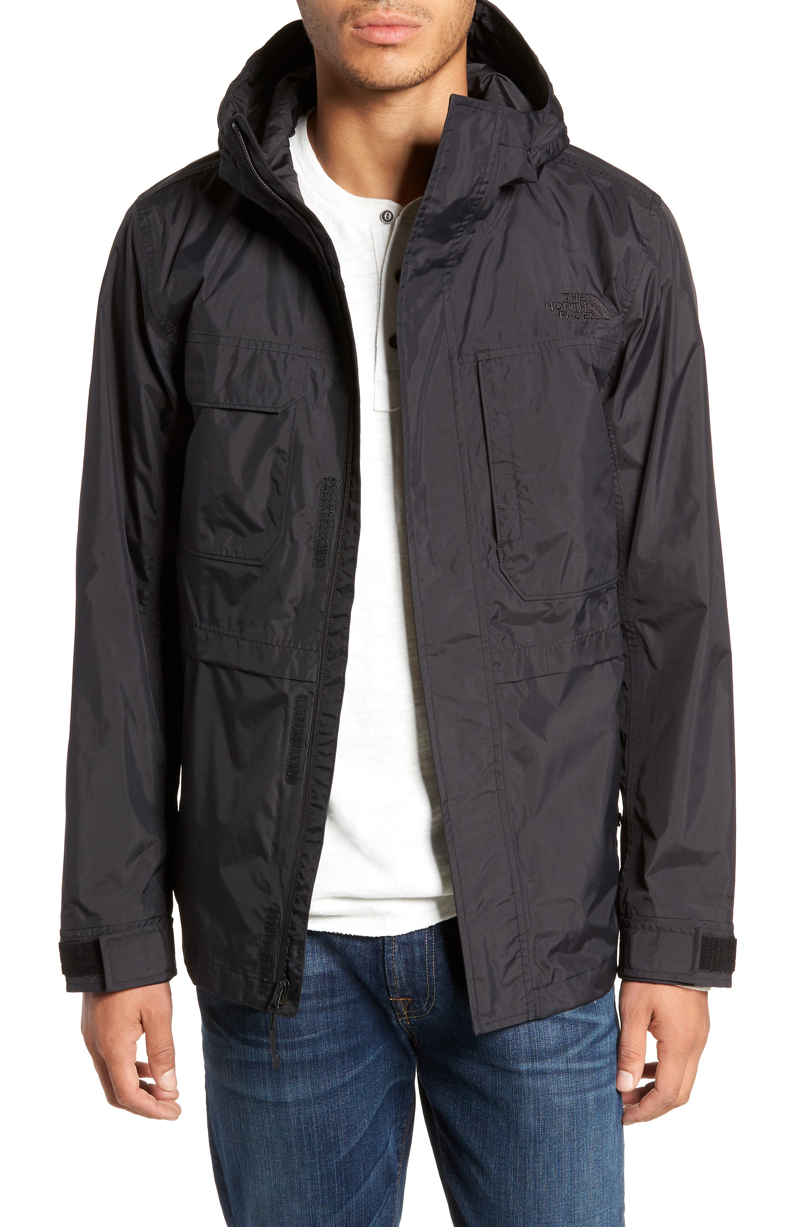 THE NORTH FACE, Zoomie Rain Jacket, Main thumbnail 1, color, 001