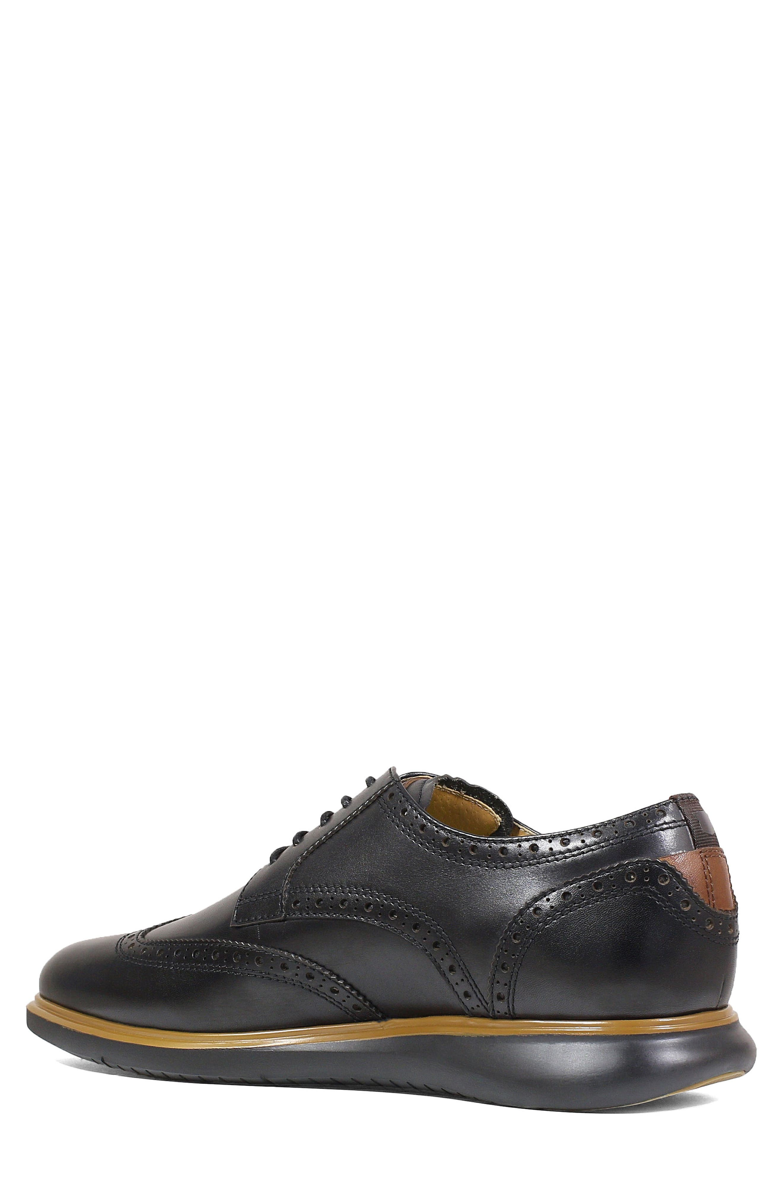 FLORSHEIM, Fuel Wingtip, Alternate thumbnail 2, color, BLACK LEATHER