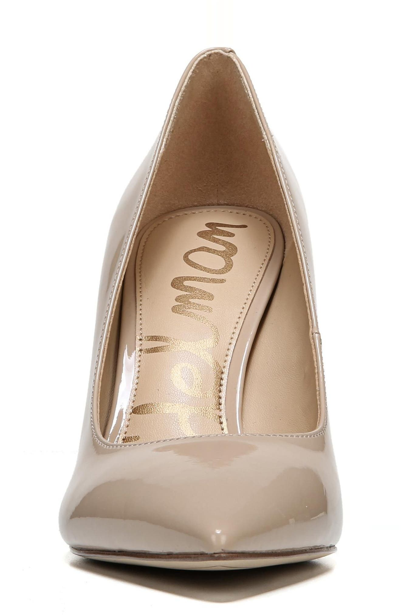SAM EDELMAN, Hazel Pointy Toe Pump, Alternate thumbnail 3, color, NUDE LINEN PATENT LEATHER