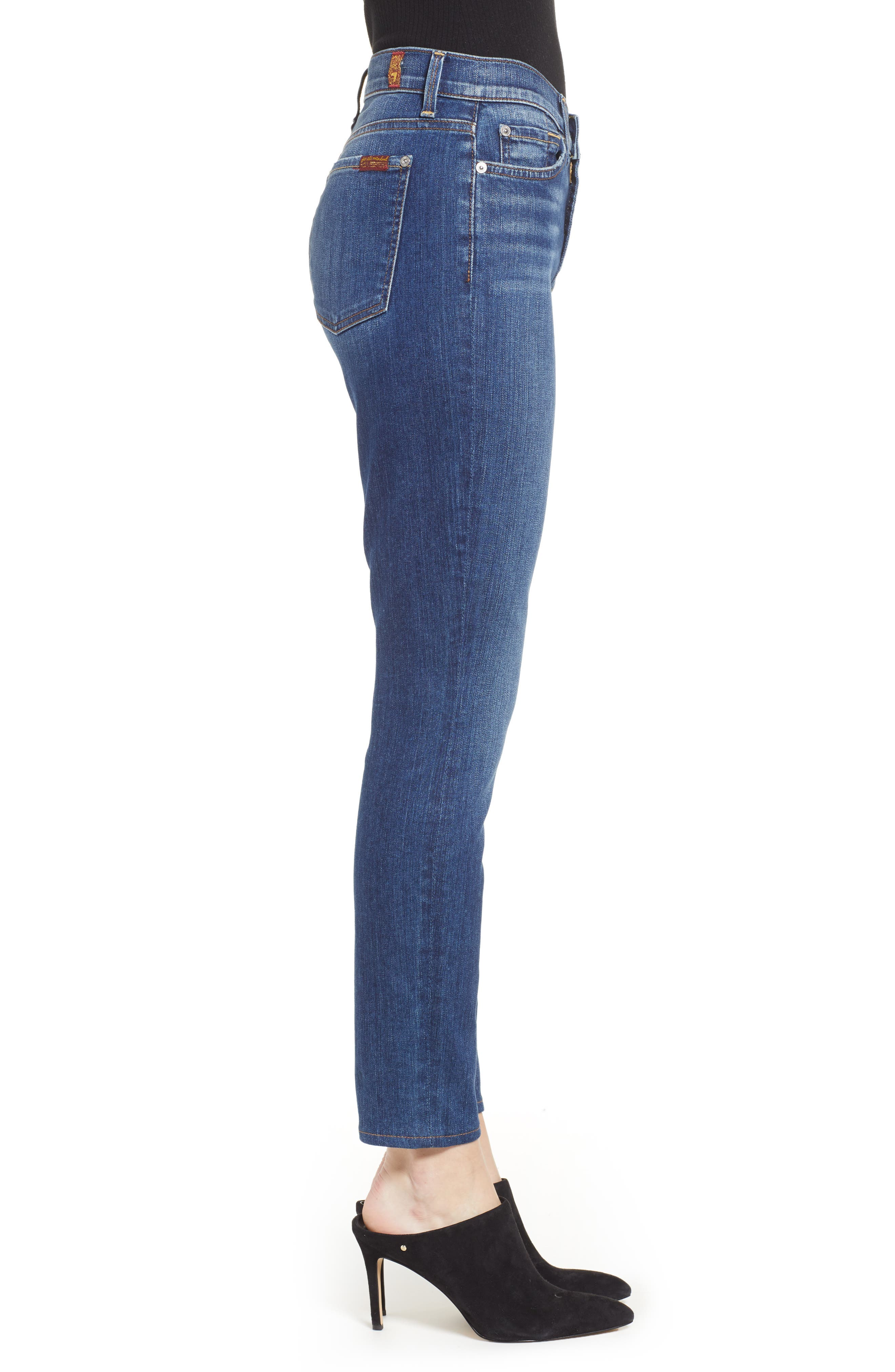 7 FOR ALL MANKIND<SUP>®</SUP>, The Ankle Skinny Jeans, Alternate thumbnail 4, color, ALLURING INDIGO