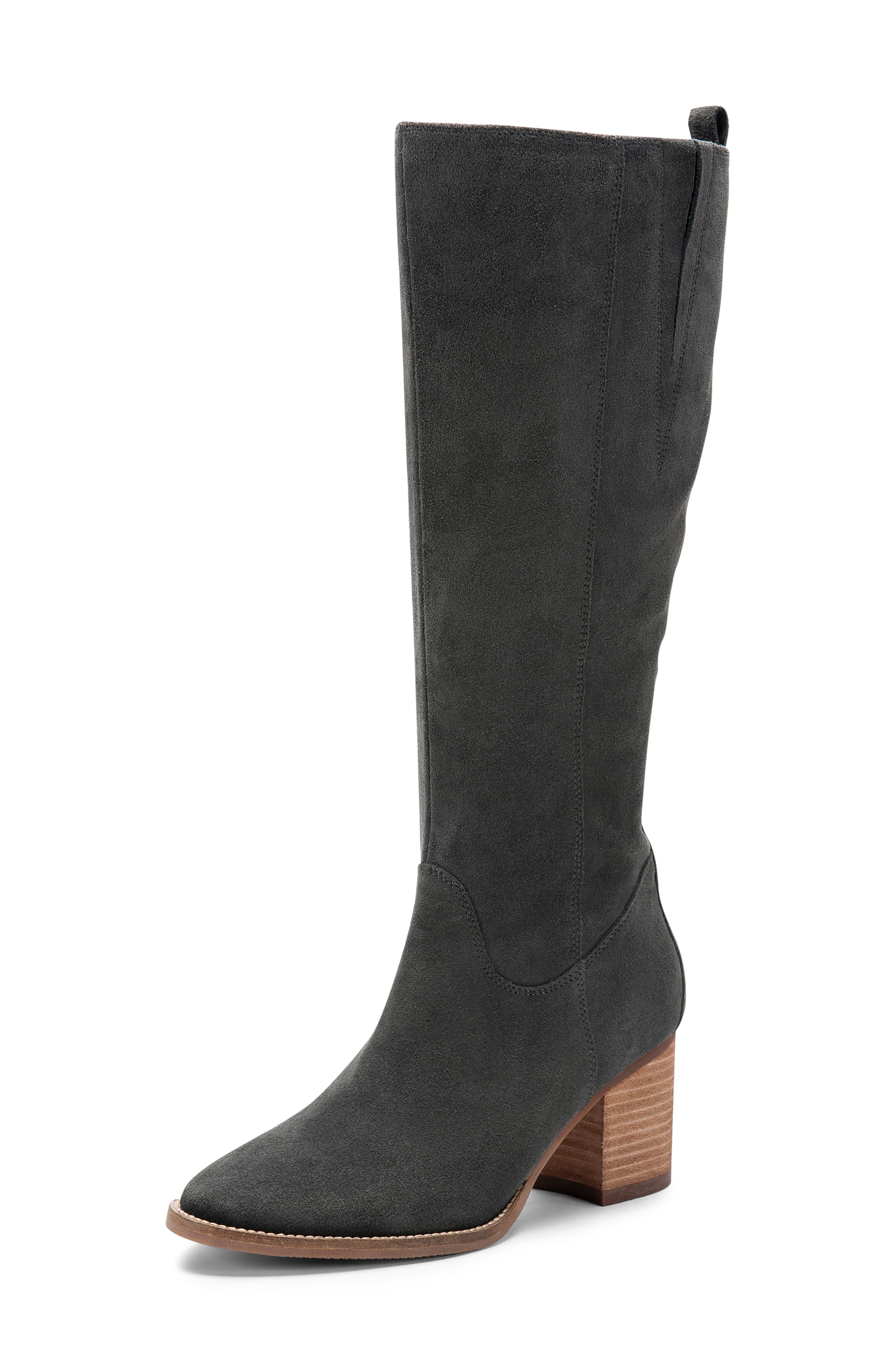 BLONDO, Nikki Waterproof Knee High Waterproof Boot, Alternate thumbnail 7, color, DARK GREY SUEDE