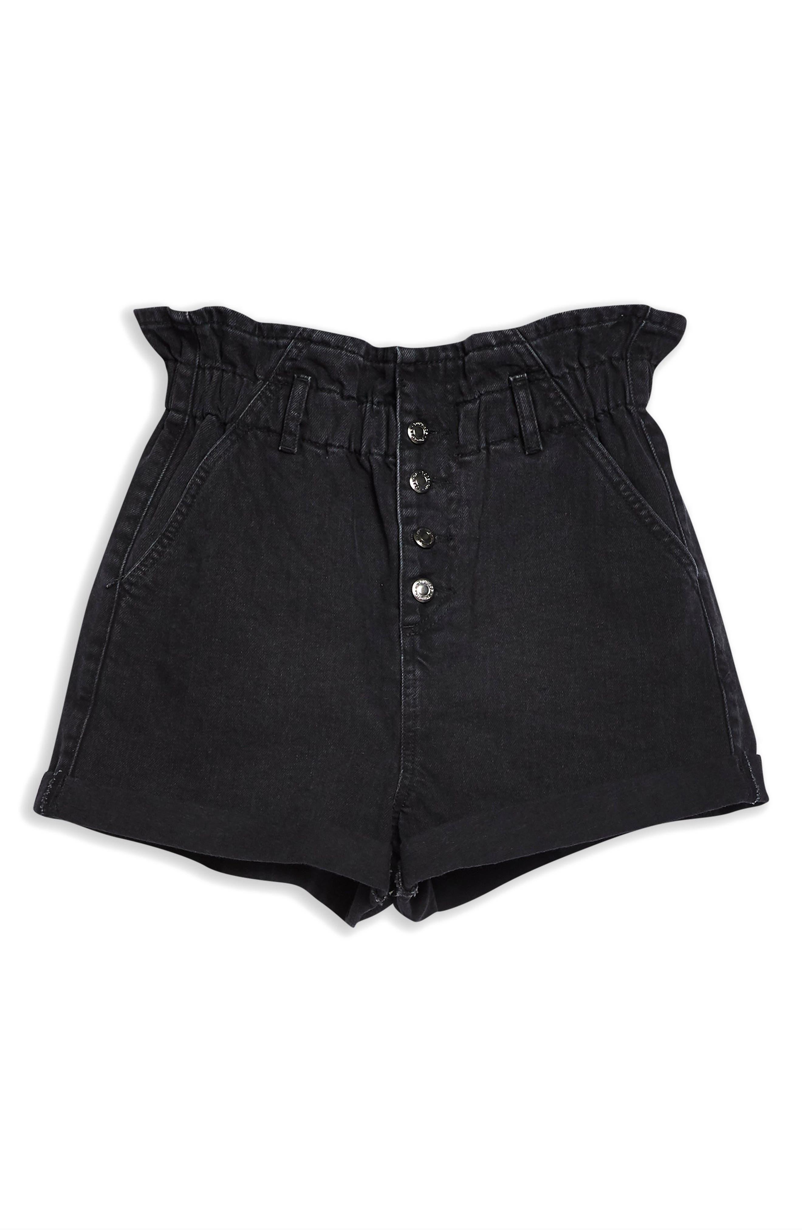 TOPSHOP, Paperbag Waist Denim Shorts, Alternate thumbnail 4, color, WASHED BLACK