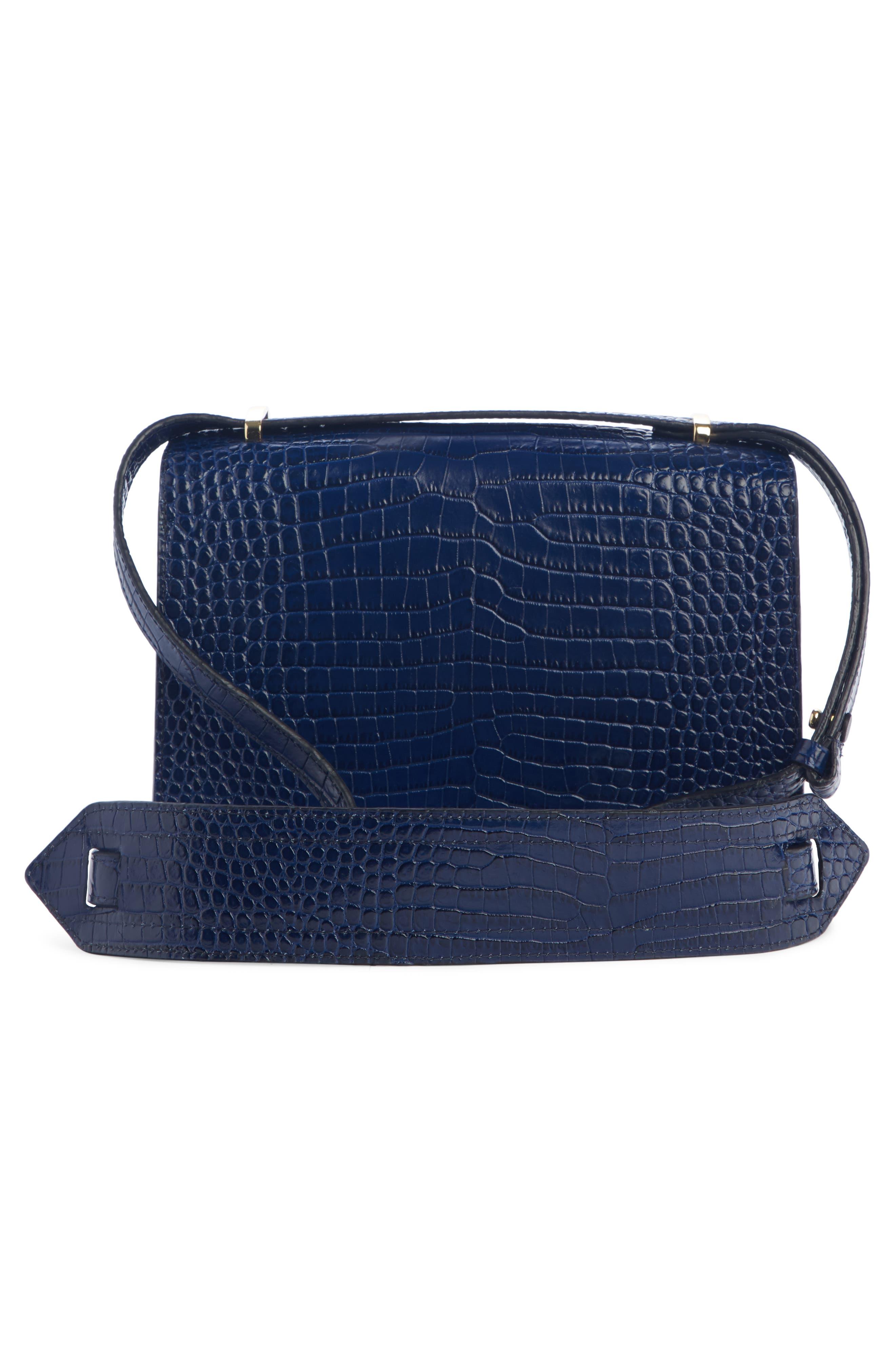 DRIES VAN NOTEN, Croc Embossed Leather Crossbody Bag, Alternate thumbnail 2, color, BLUE