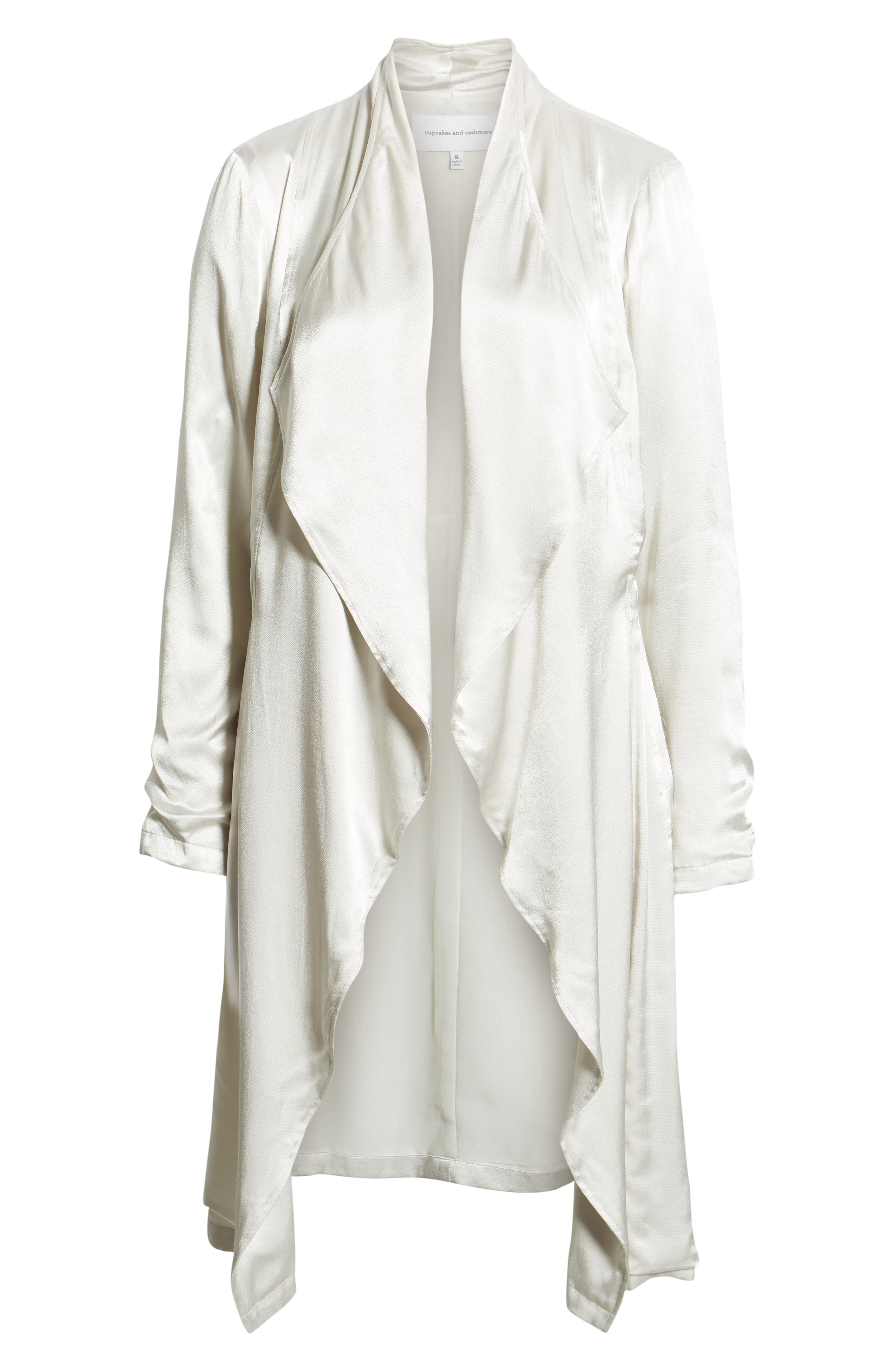 CUPCAKES AND CASHMERE, Drape Front Satin Trench Coat, Alternate thumbnail 6, color, 900