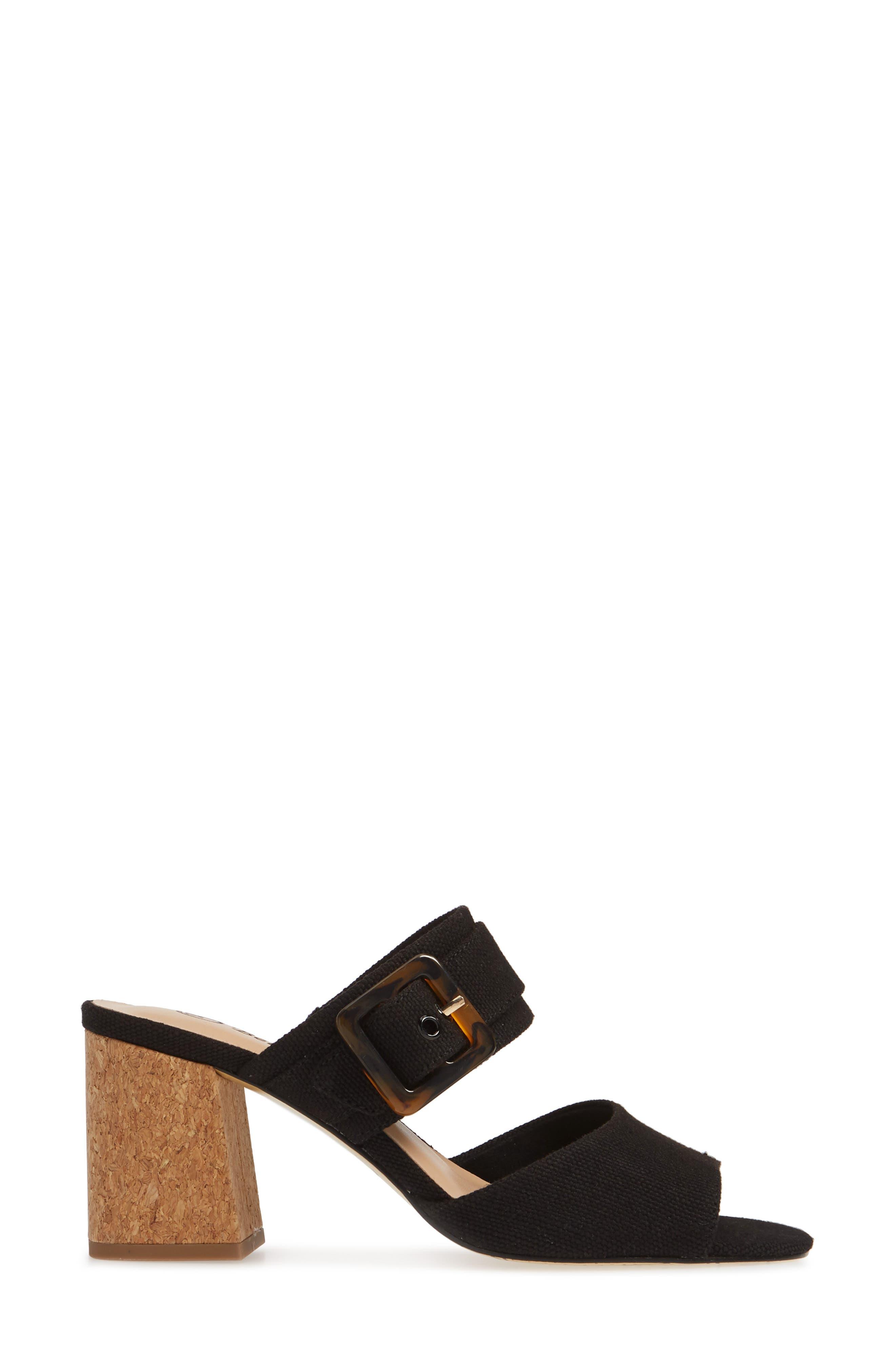 BELLA VITA, Tory II Buckle Slide Sandal, Alternate thumbnail 3, color, BLACK LINEN FABRIC